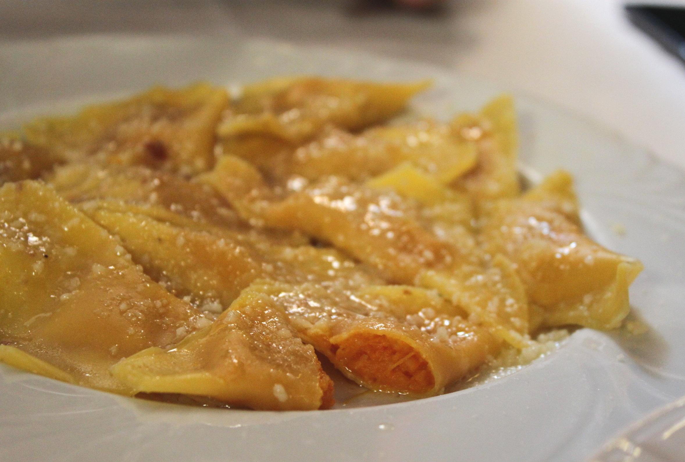 Cappellacci di zucca- squash filled pasta, an Emilia-Romagna delicacy naturally vegetarian!