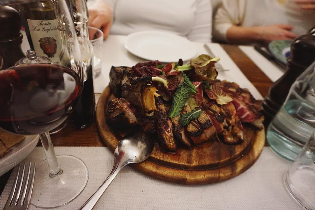 The famous Bistecca Fiorentina on one of our Progressive Dining Tours