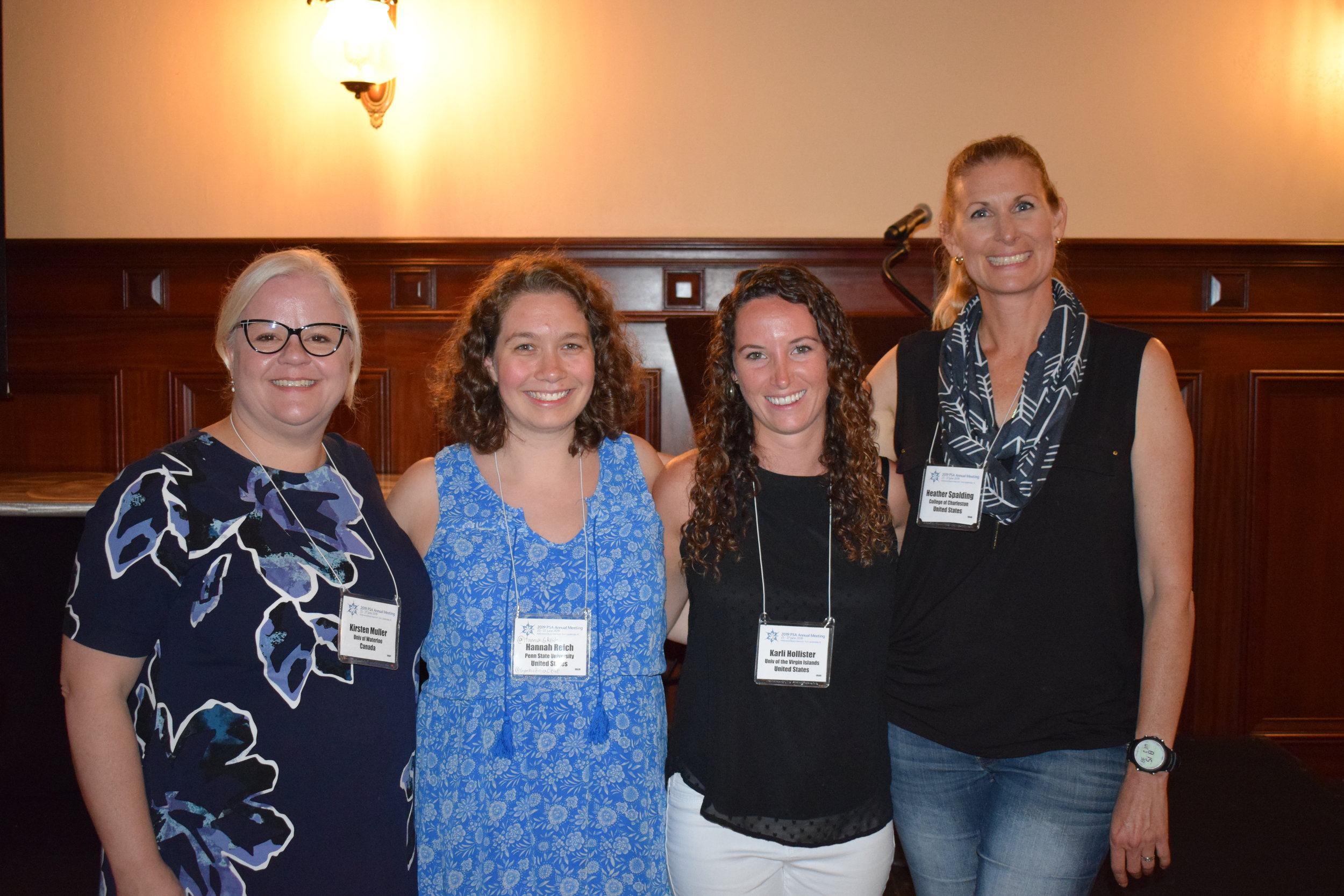 2019 Lewin Award Winner Karli Hollister (second from right) along with PSA President Kirsten Müller (left), 2019 Bold Award Winner Hanna Reich (second from left), and PSA Student Awards Committee Chair Heather Spalding (right)
