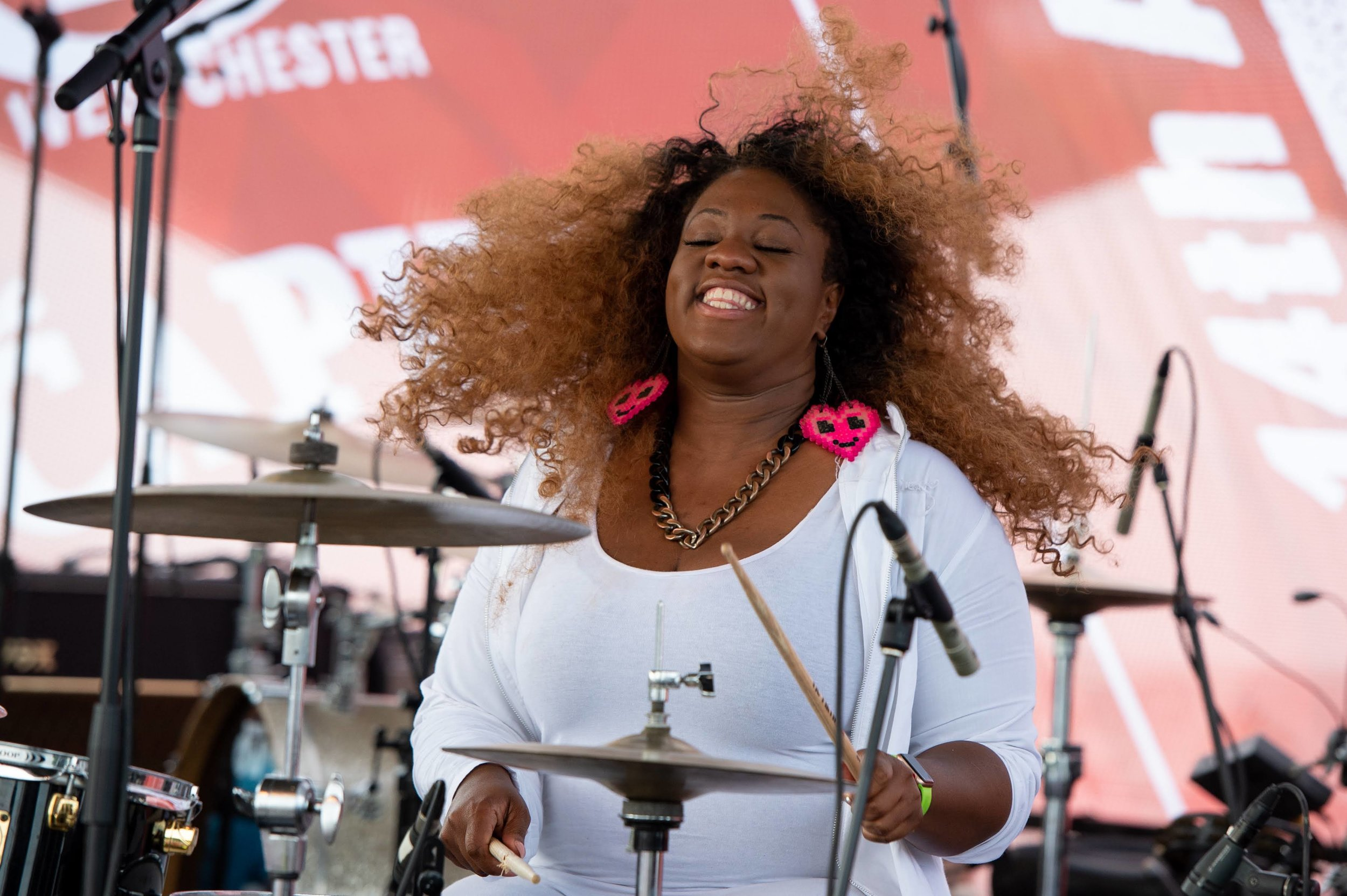Lenesha Randolph taking on the drums in her big brother Robert's Family Band © 2018 Lynda Shenkman