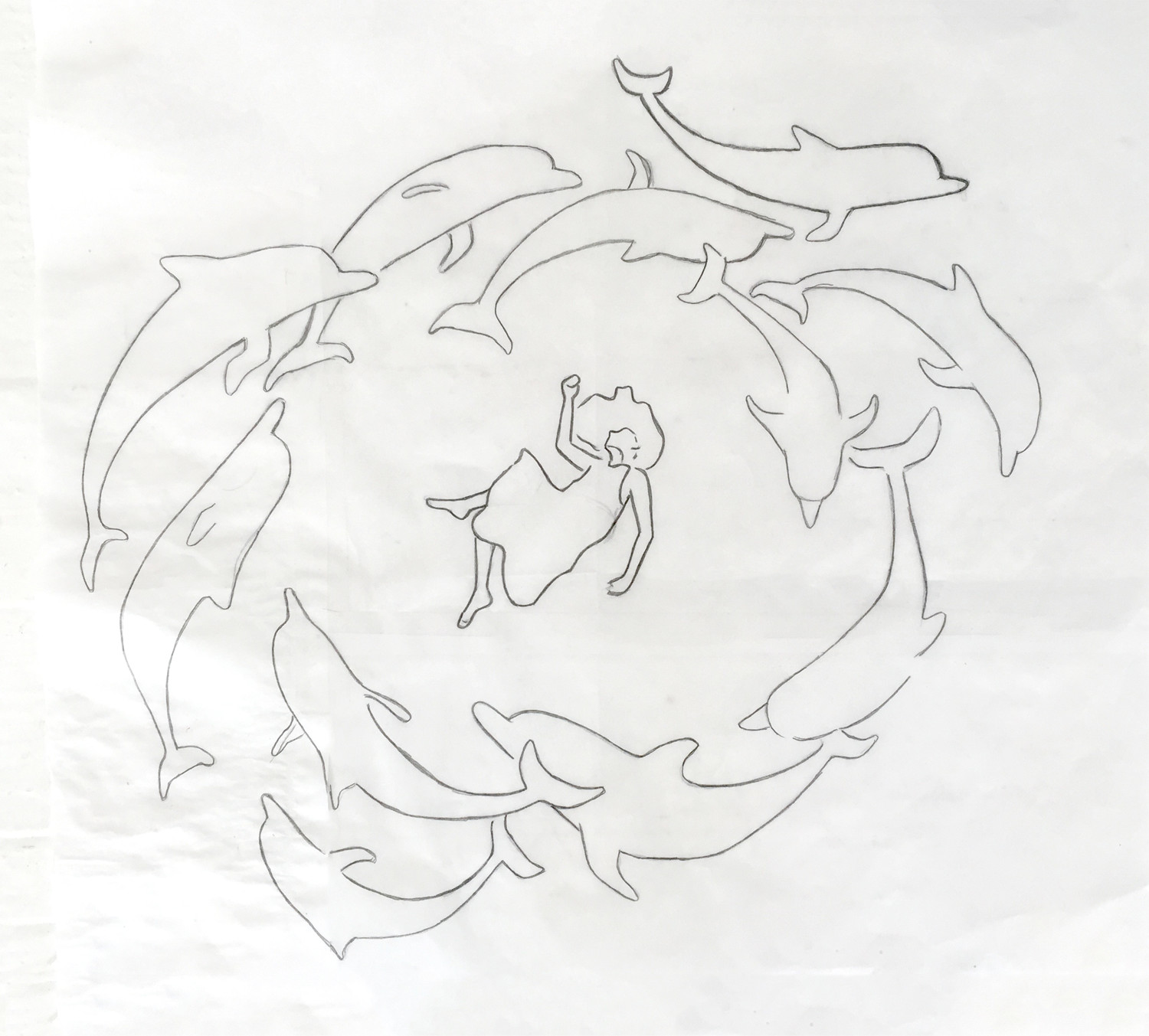 This is my more refined sketch on tracing paper (after a few thumb nails in my sketch book) I changed the direction of the dolphins when I realized the current they would make would motion her hair in the other direction.