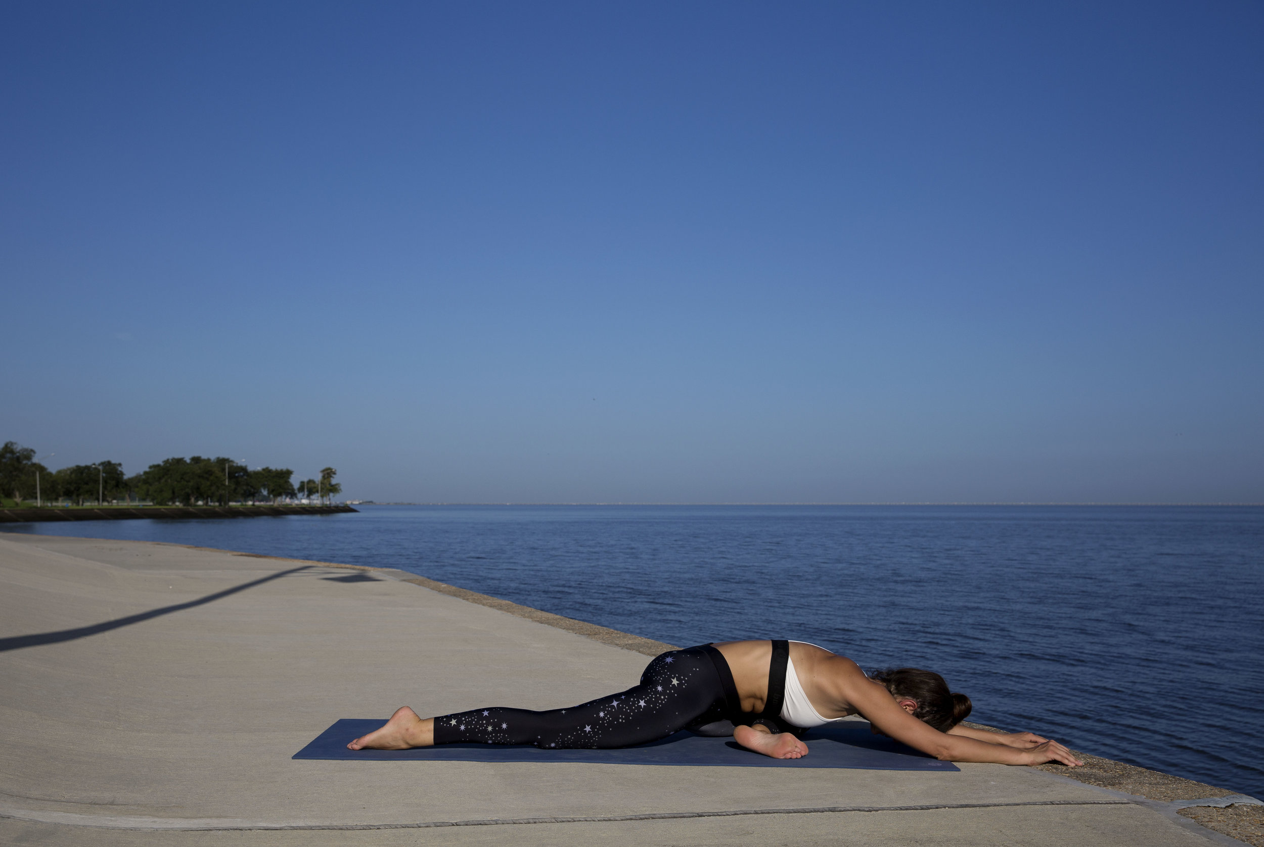 Exhale down into the pose. Every inhale get longer, every exhale go deeper