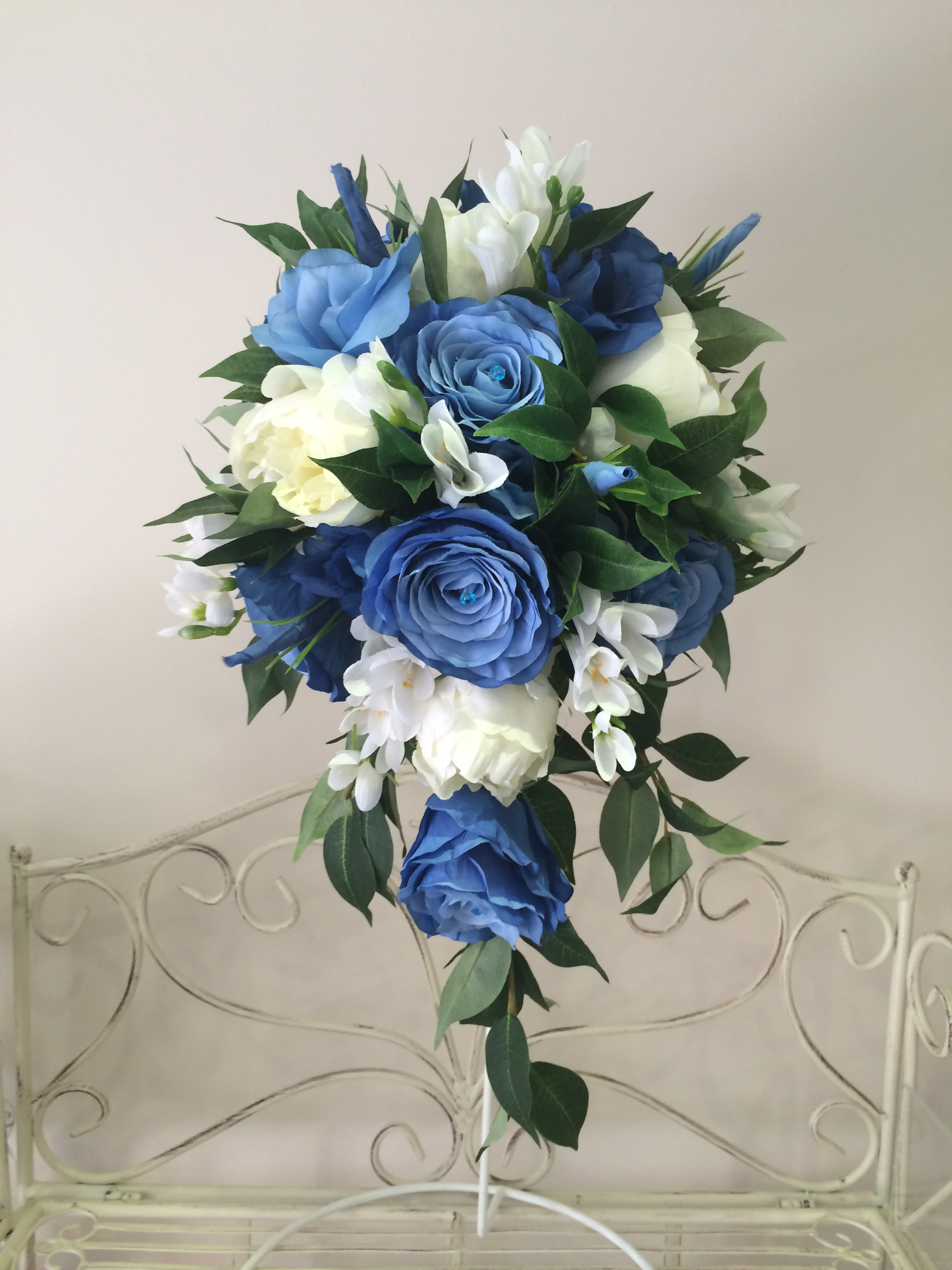 Long Teardrop Bouquet With Cream Peonies, Mood   Blue Roses, White Freesias & Cream Roses