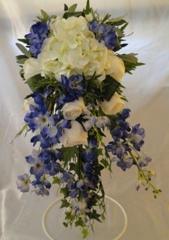 Extra Long Waterfall Bouquet With Blue Delpiniums, Hydrangeas, Cream Roses & Peonies