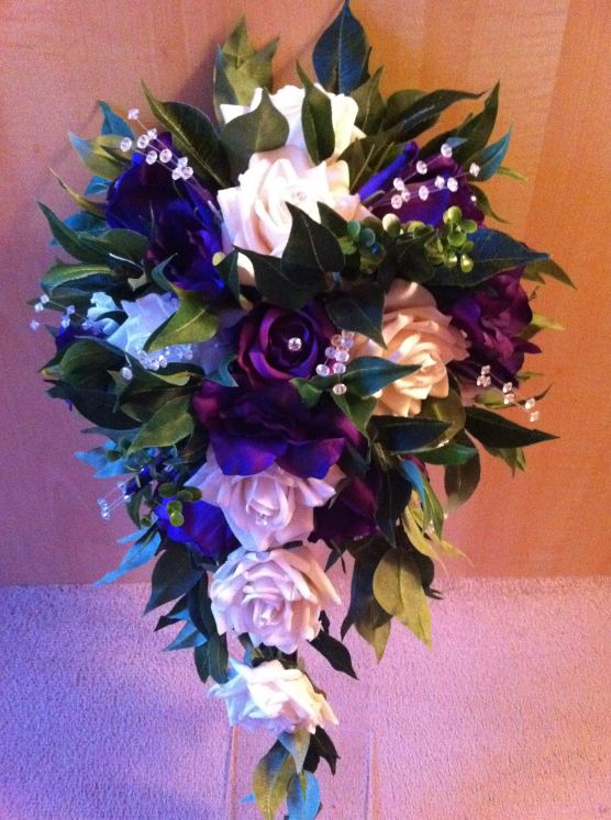 Long Teardrop Bouquet With Cadbury Purple & White Roses, Purple Lisianthus, Bayleaves & Crystal Stems