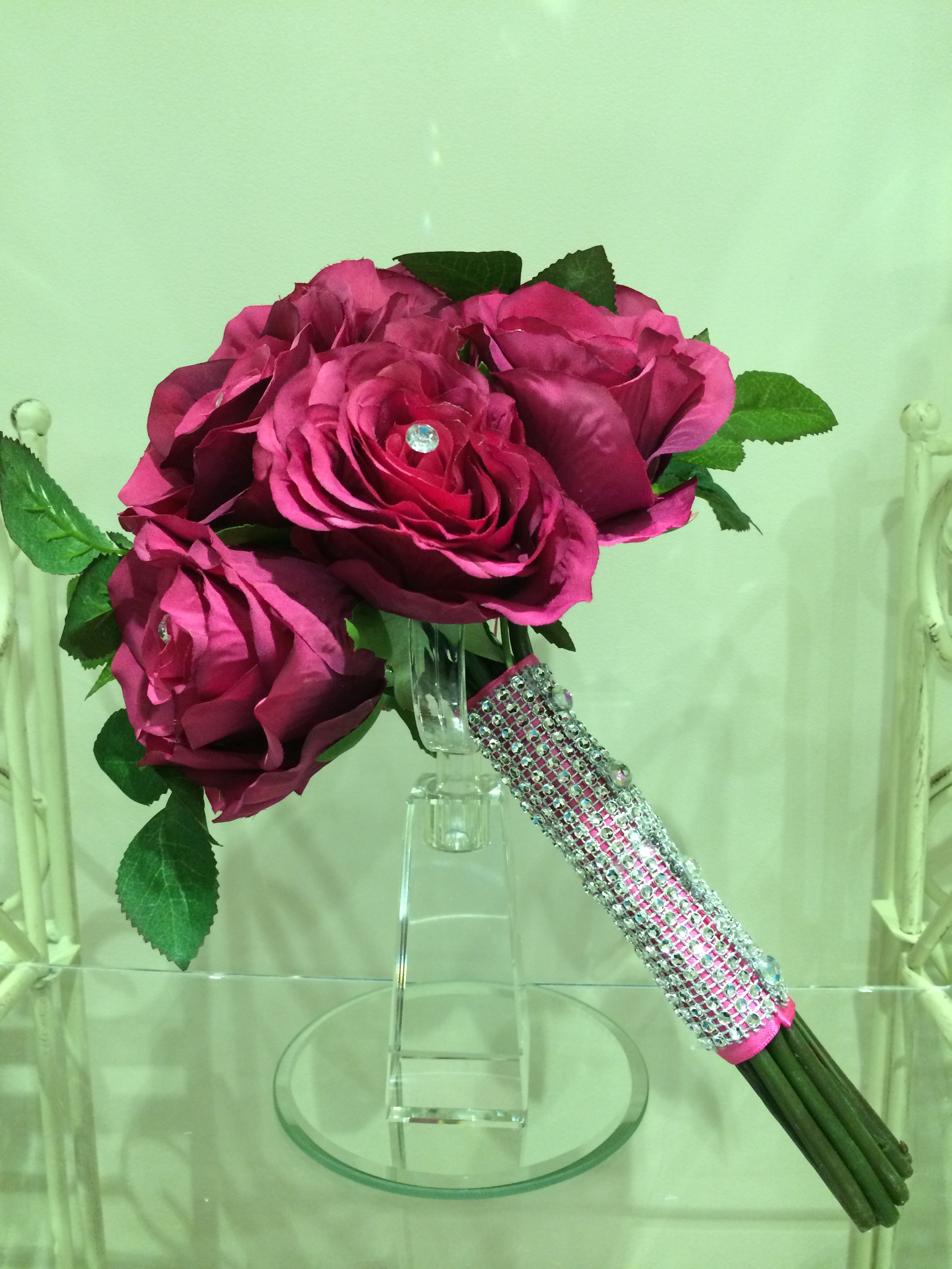 Brides Handtied Bouquet With Hot Pink Roses, Hot Pink Ribbon & Crystal Overlay