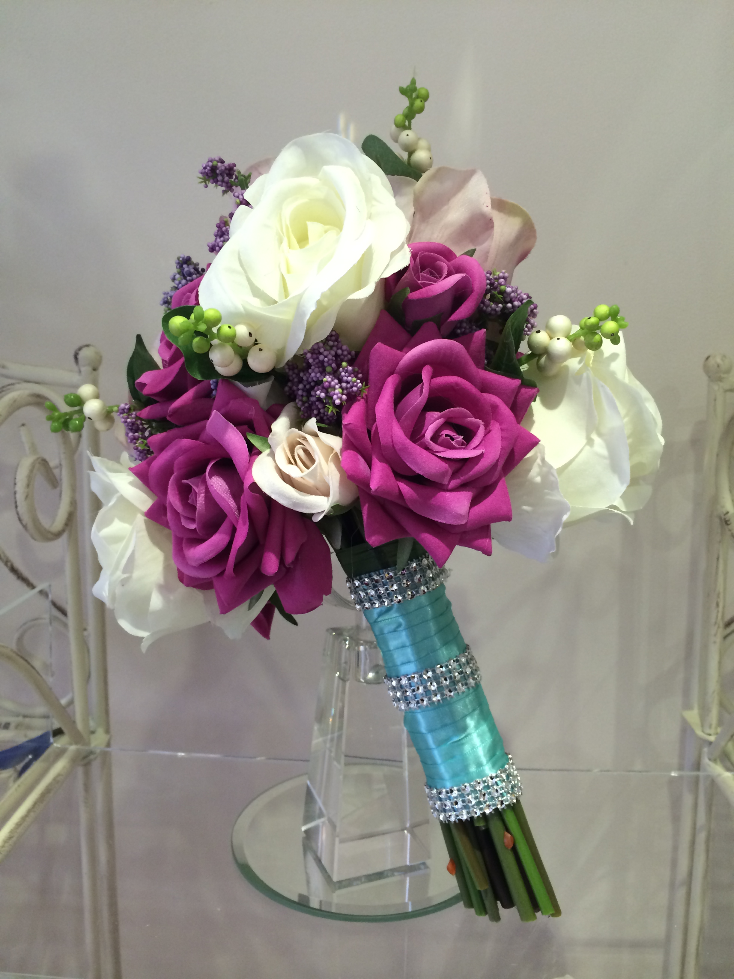 Brides Handtied Bouquet With Hot Pink & Cream Roses, Hedgerow & Snowberries With Aqua Ribbon