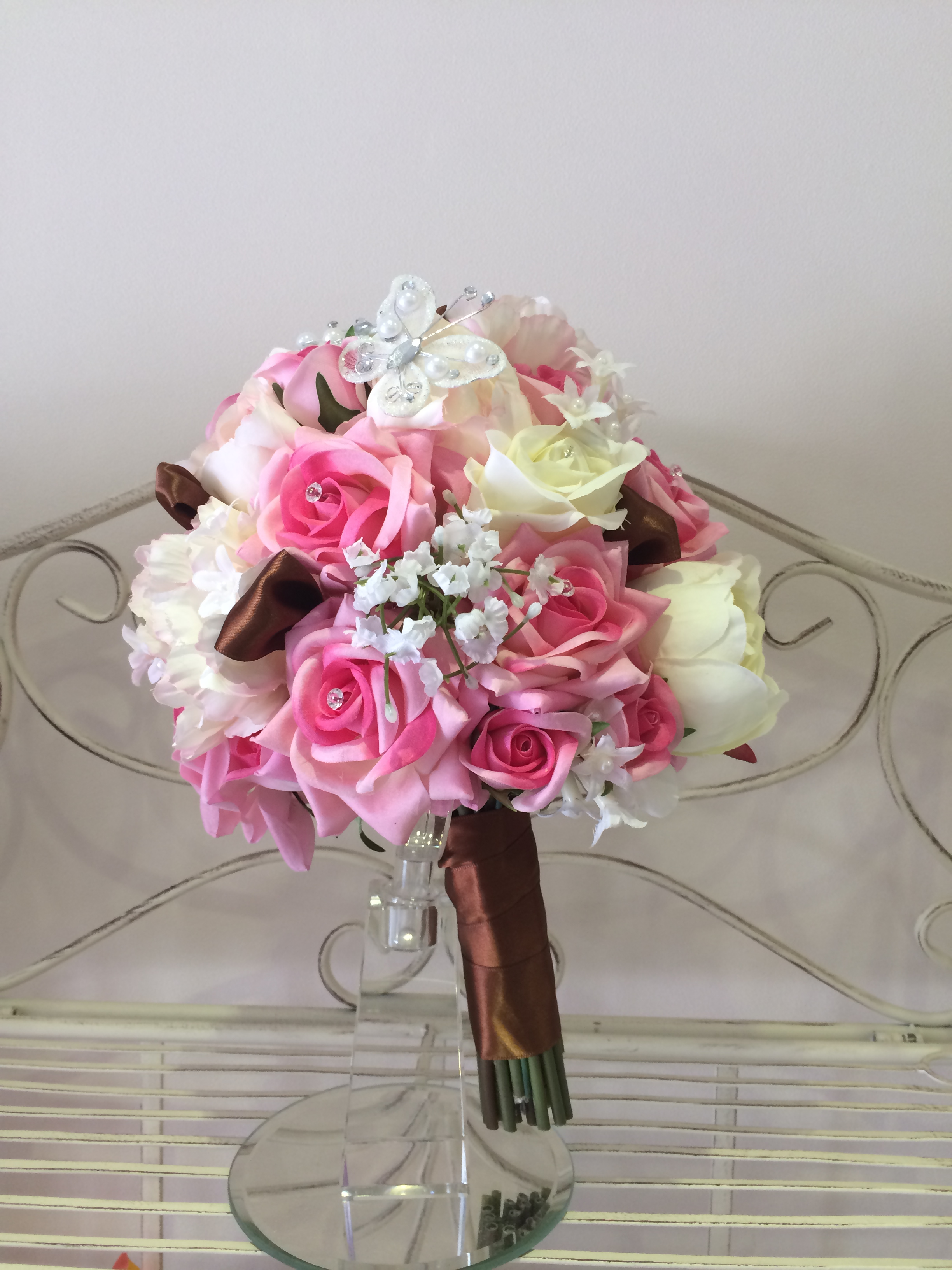 Brides Handtied Bouquet With Pale Pink Roses, Pink & Cream Roses With Gypsophila