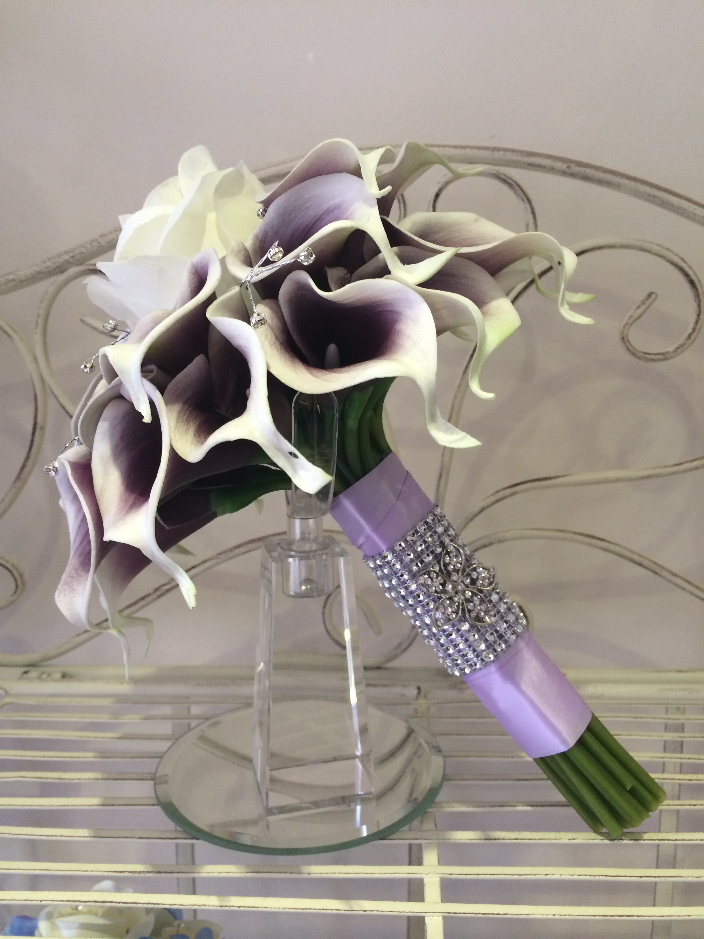 Brides Handtied Bouquet With Purple Picasso Lilies, Cream Rose, Diamantes & Lilac Ribbon