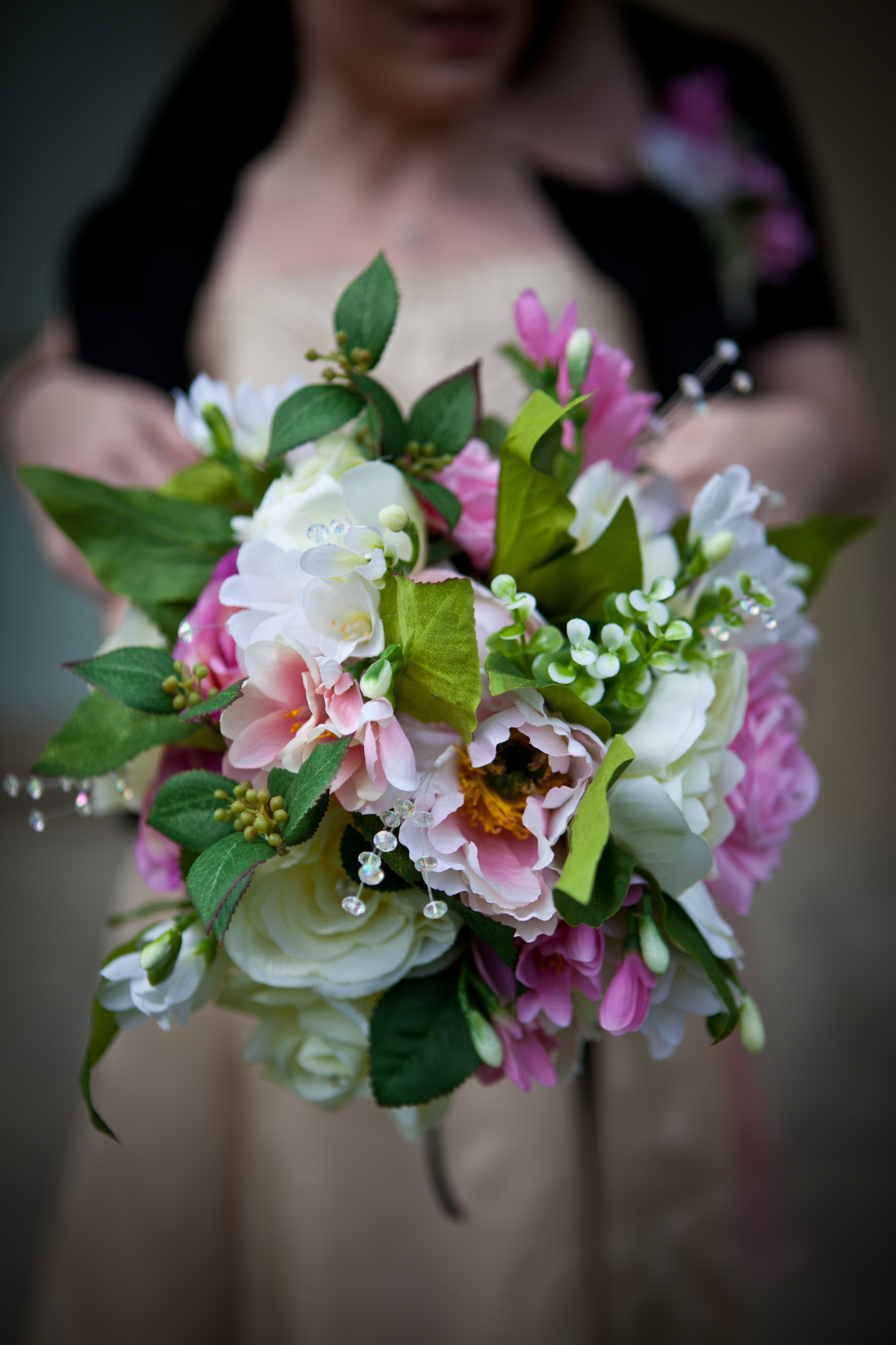 Brides Handtied Bouquet With Light Pink & Cream Peonies, Light Pink Roses & Eucalyptus