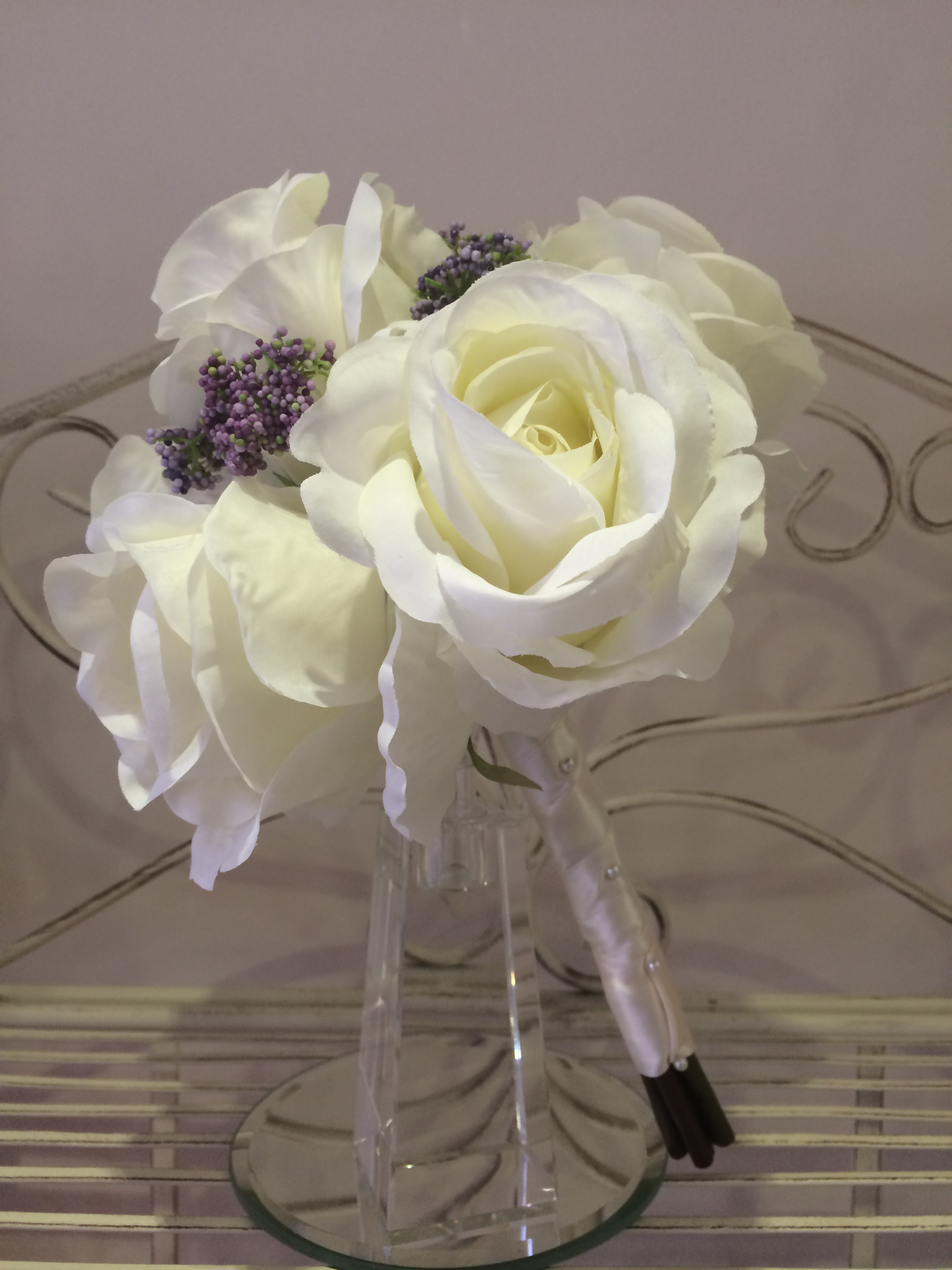 Bridesmaids Bouquet With Large Cream Roses &       Lilac Hedgerow Berries