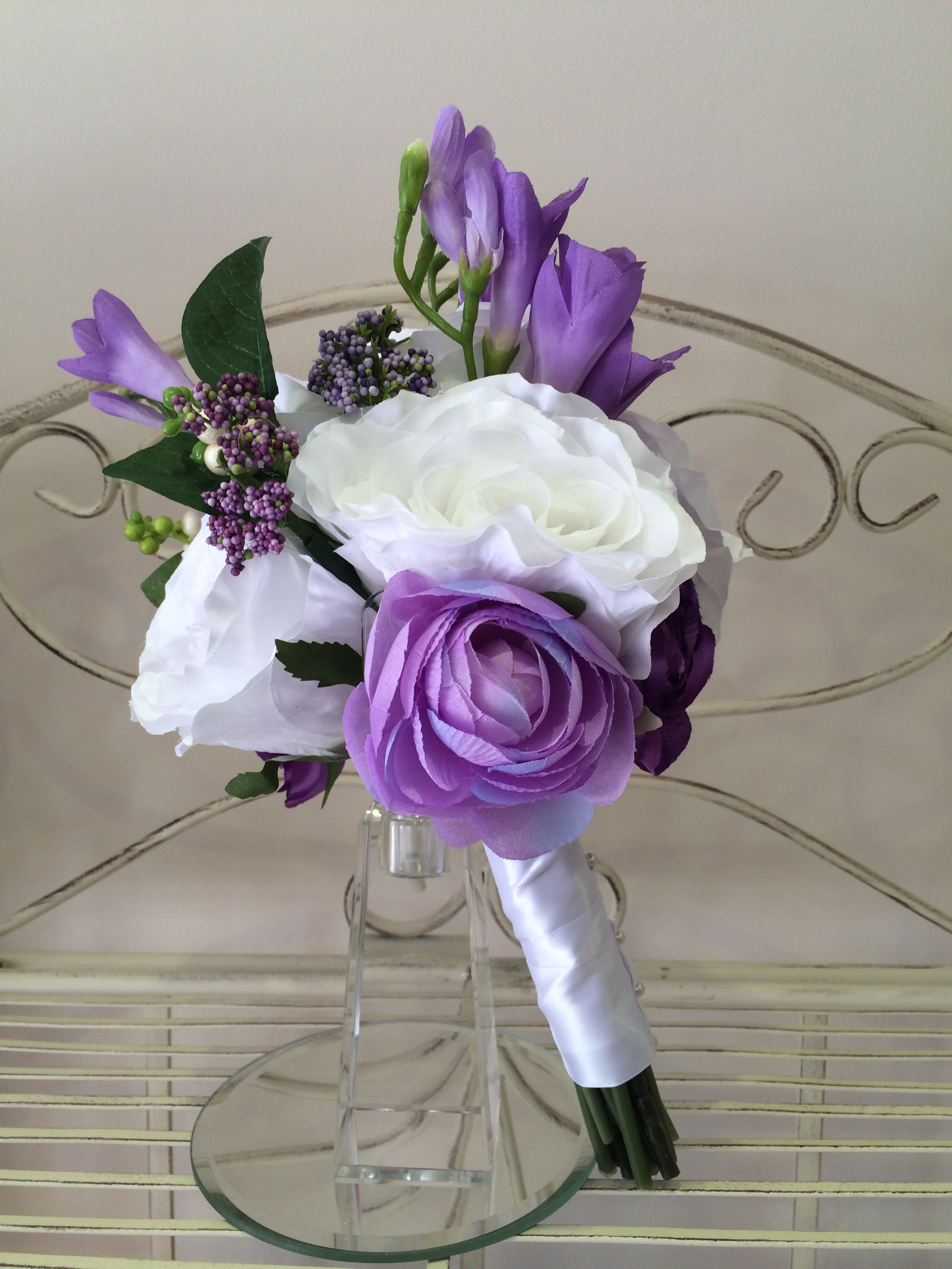 Bridesmaids Bouquet With White Roses, Lilac             Ranunculus & Lilac Hedgerow Berries