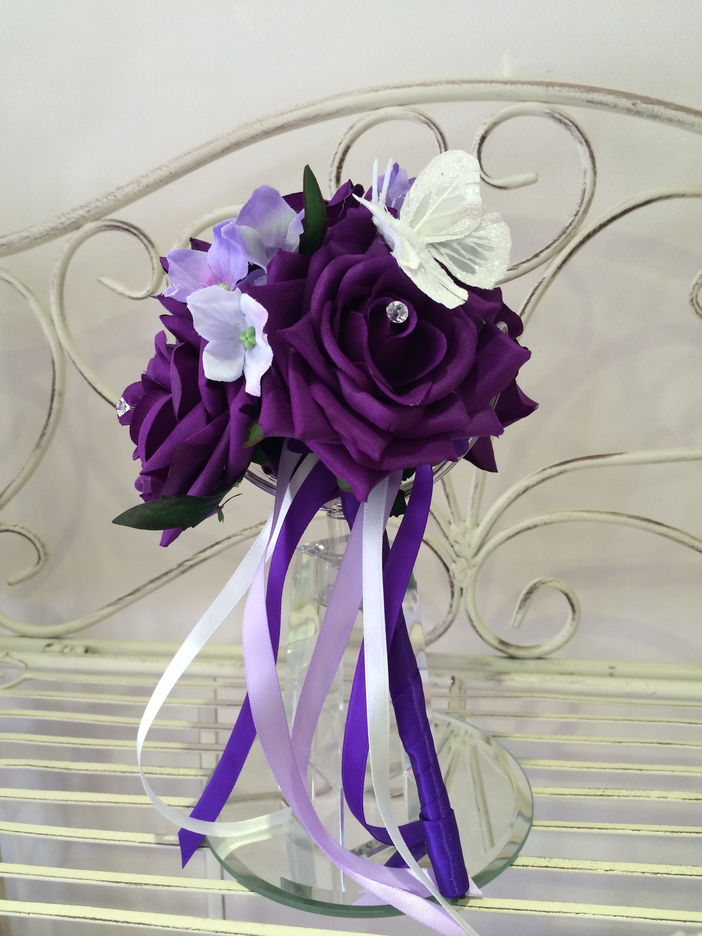 Flowergirl Wand With Cadbury Purple Roses with       Lilac Hydrangeas