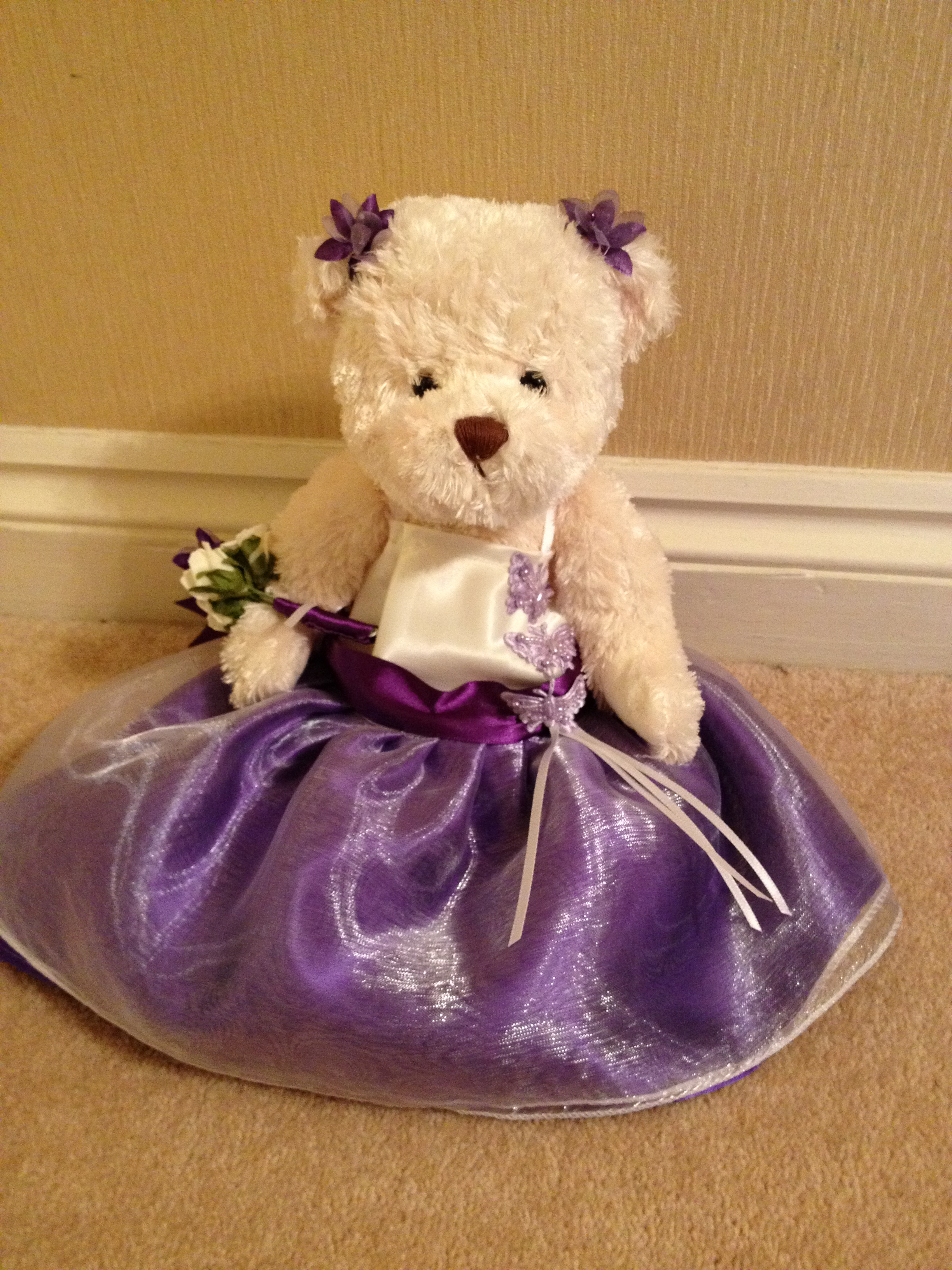 Flowergirl Bear With Cadbury Purple Skirt & Ivory   Bodice