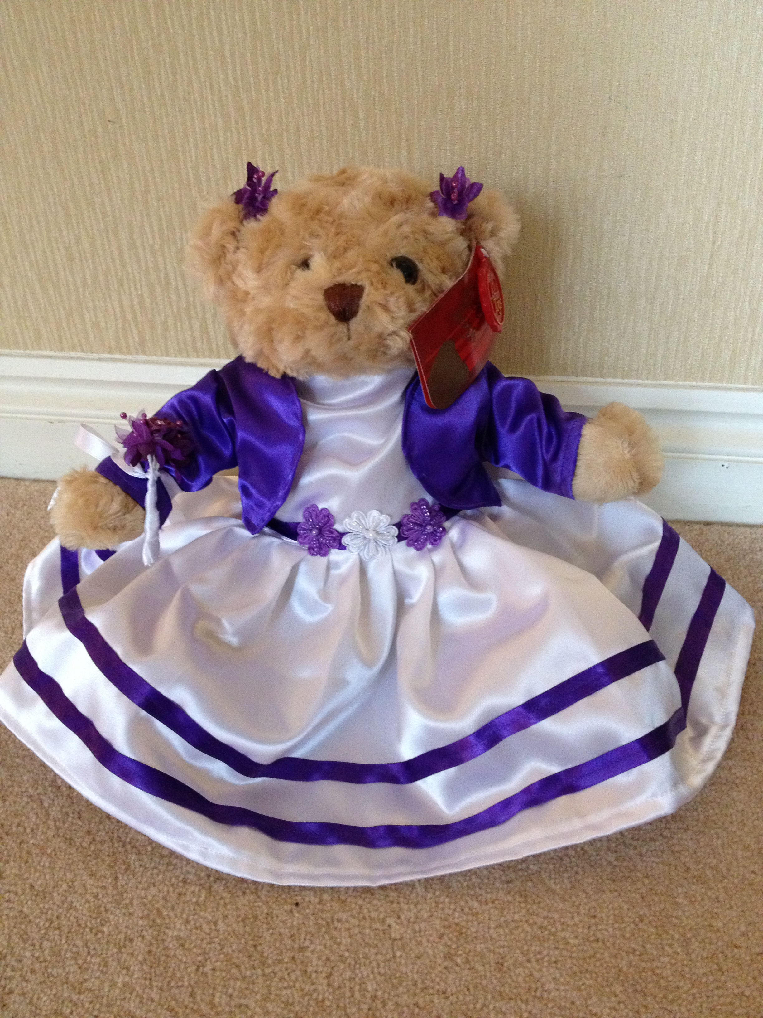 Flowergirl Bear With Ivory Dress, Cadbury Purple Jacket