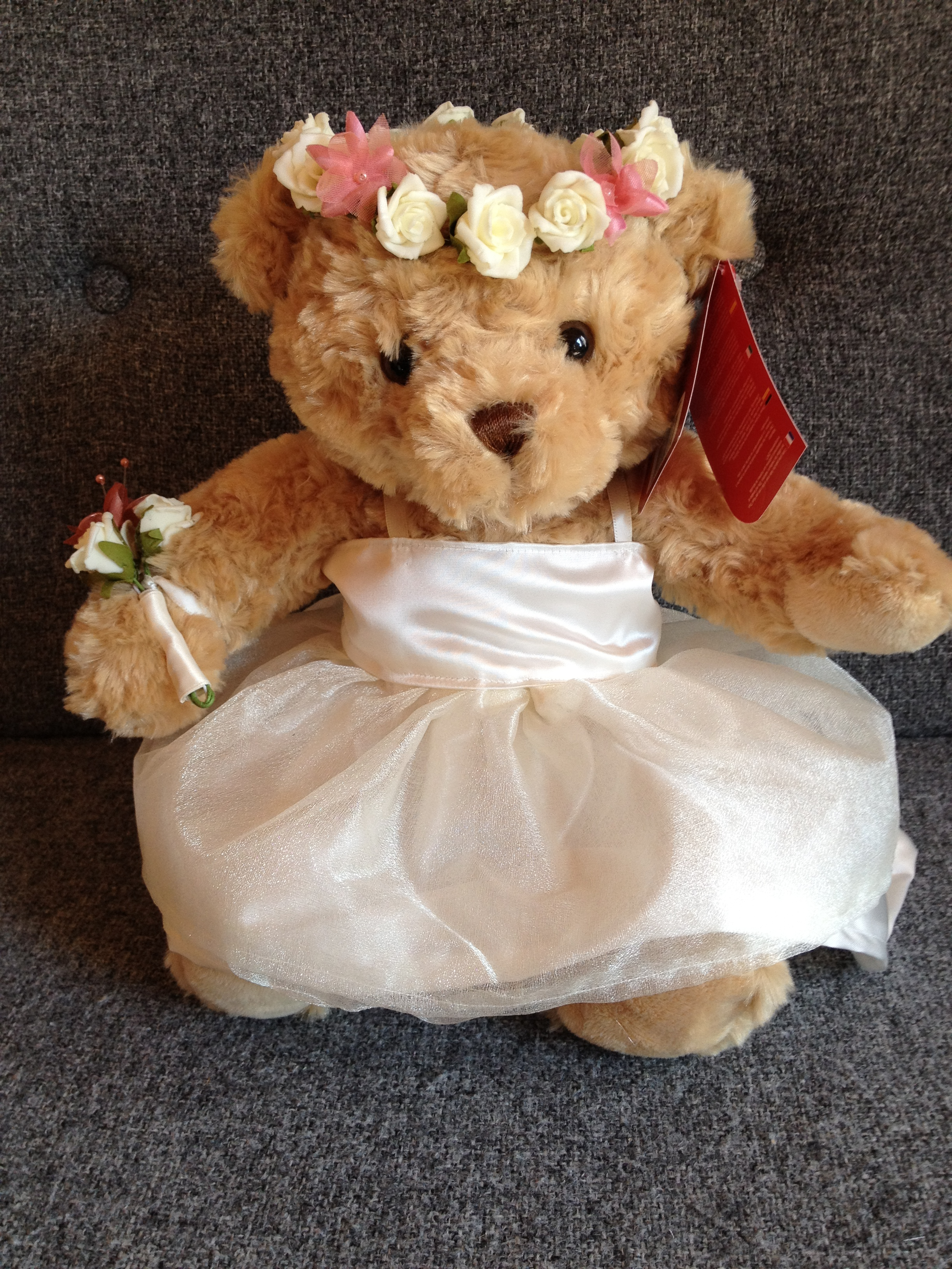 Flowergirl Bear With Ivory Dress & Full Head Circlet