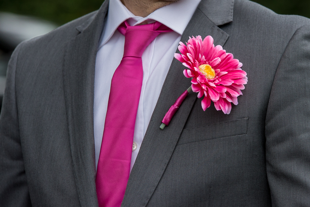 Men's Buttonhole - Hot Pink Gerbera