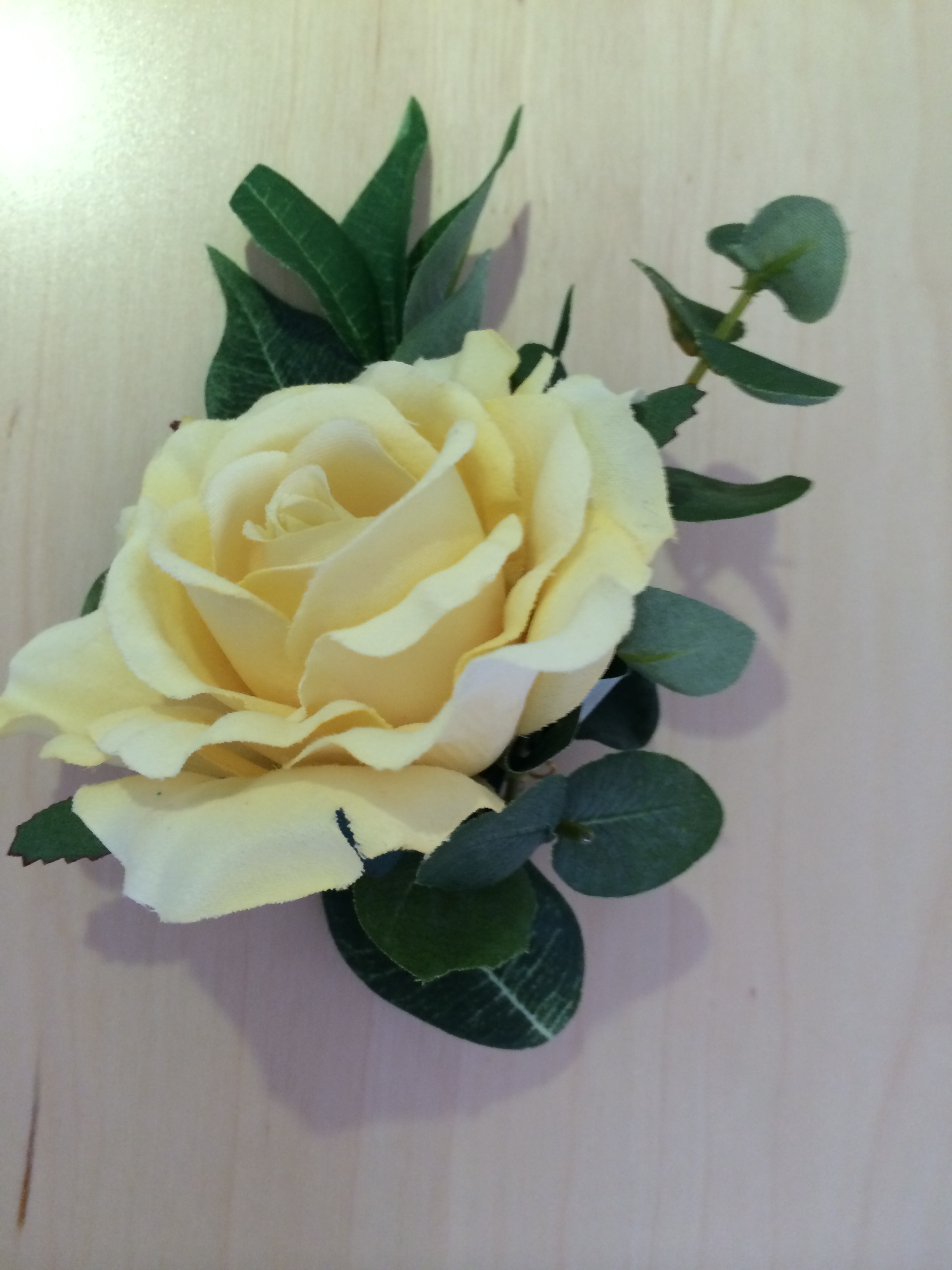 Men's Buttonhole - Lemon Rose With Eucalyptus & Bayleaves