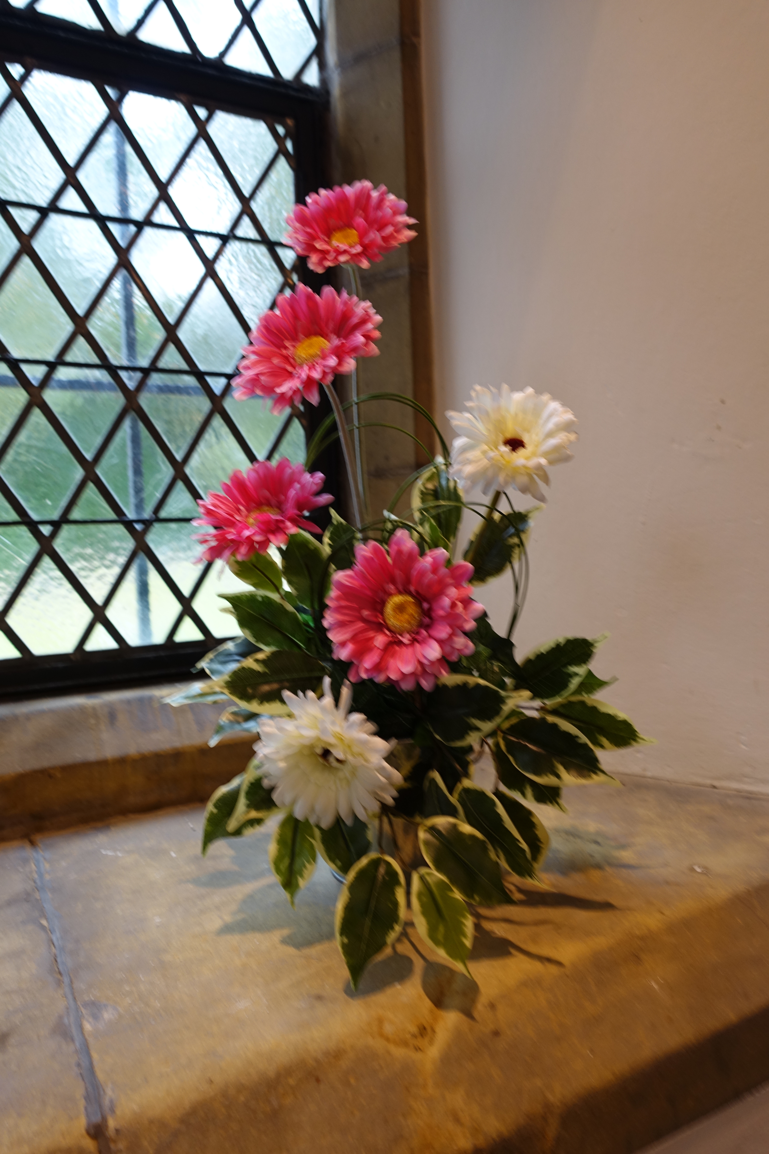 Church Window Display - With Hot Pink & Ivory Gerberas