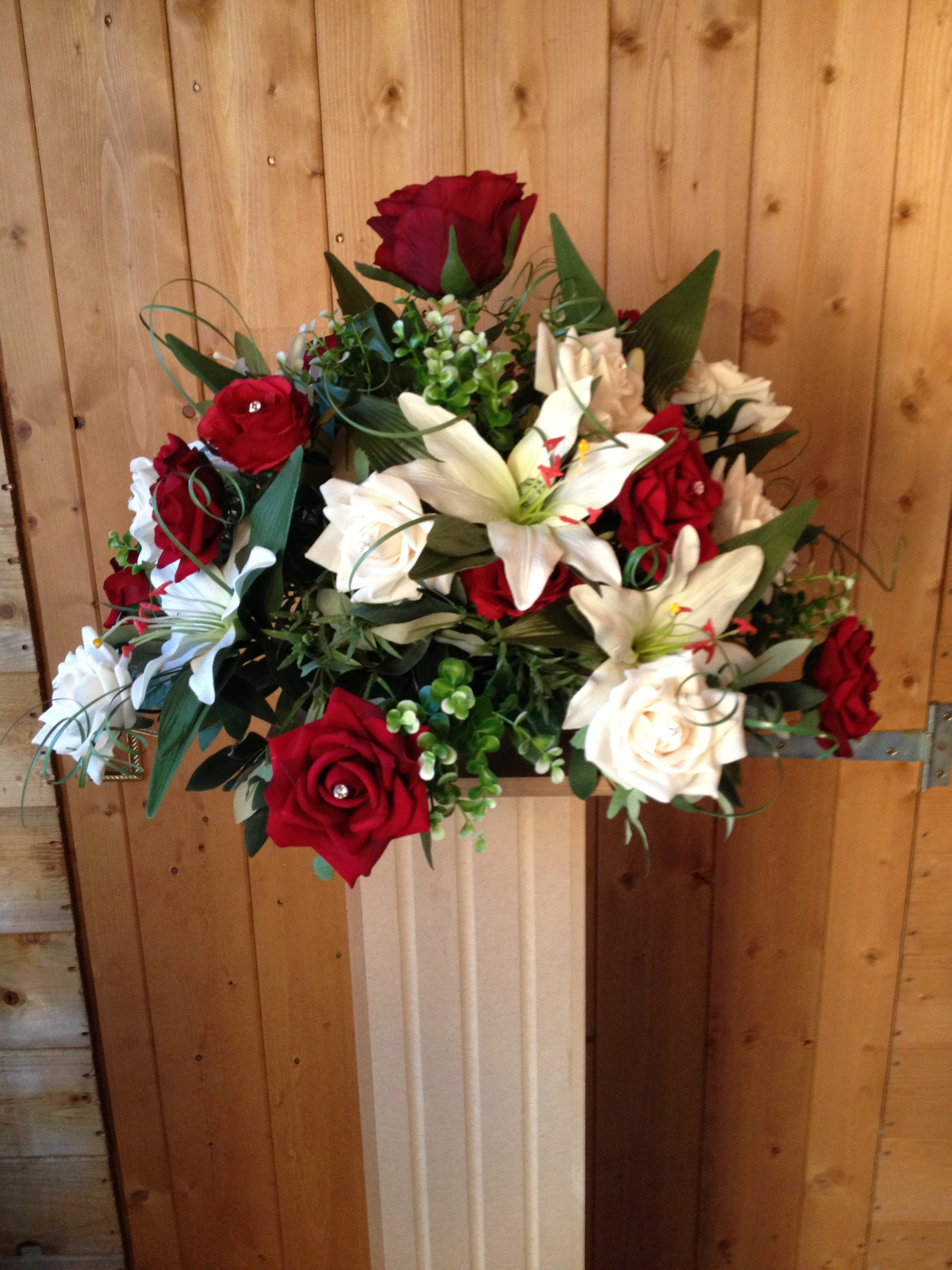 Ceremony Dome Displays - To Sit On Columns, With Ivory Star Gazer Lilies, Red & Ivory Roses