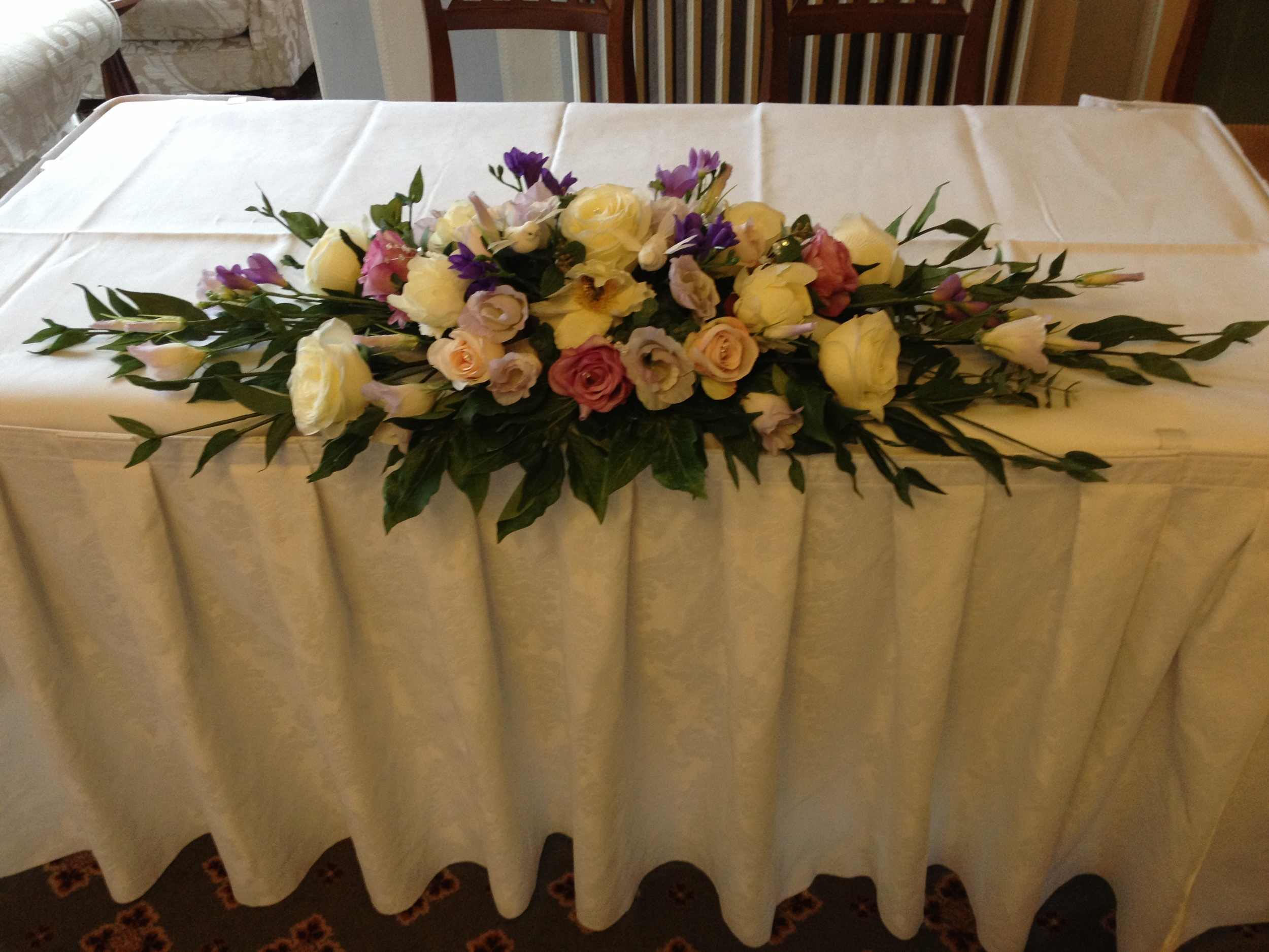 Ceremony Table Display - With Cream Peonies & Roses, Vintage Pink Roses, Ivory Lisianthus & Greenery