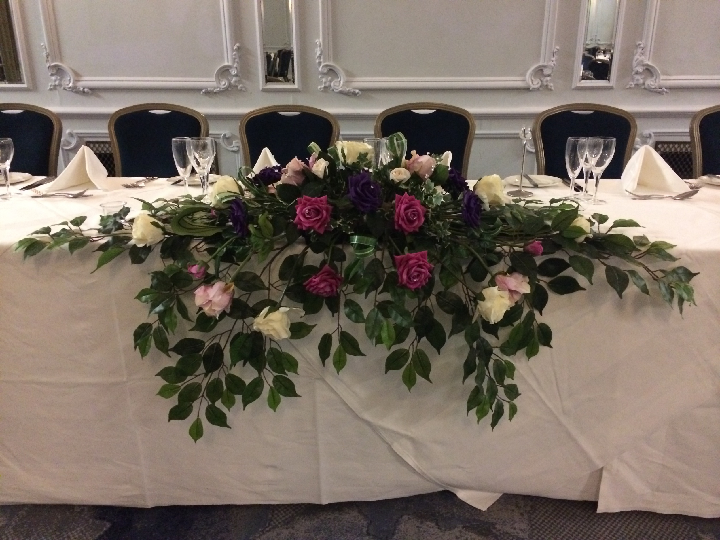 Top Table Display - With Hot Pink, Ivory, Lilac & Purple Roses