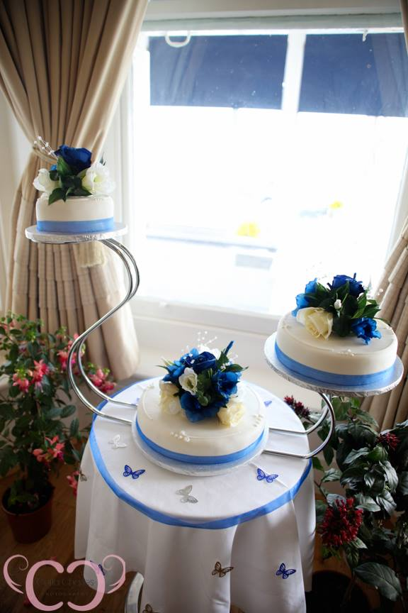 Wedding Cake Flowers - 3 x Separate Cake Flowers In Cream & Dark Blue Roses With Bayleaves