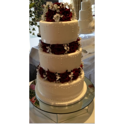 Wedding Cake Flowers - 2 x Layers & Cake Topper In Burgundy Roses With Gypsophila