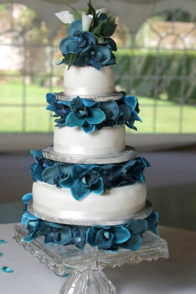 Wedding Cake Flowers - 4 x Layers Of Teal Orchids