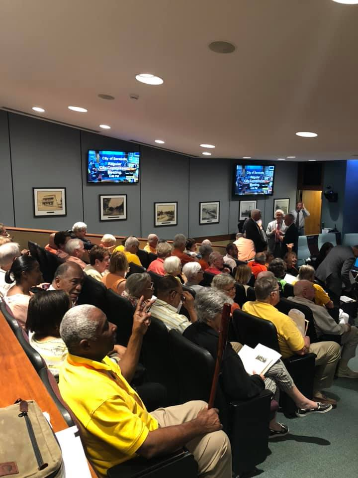 120 people at Sarasota City Hall on April 25th, 2019 to show solidarity and to press our city commissioners to take the next step and identify funding sources for a housing opportunity fund.