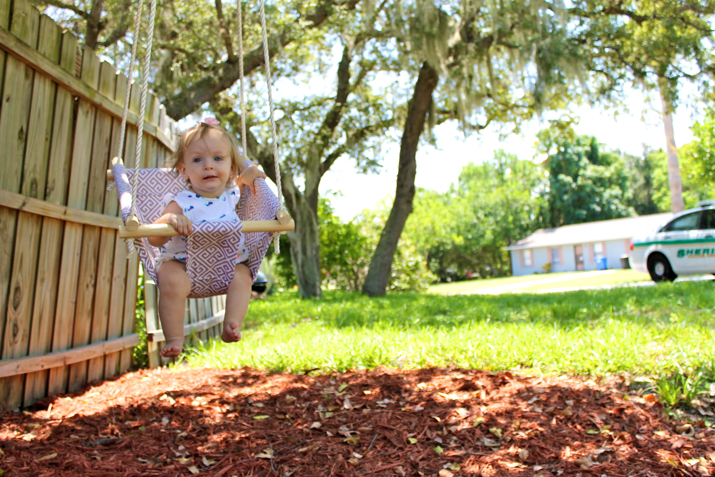 Evie's first birthday and homemade swing