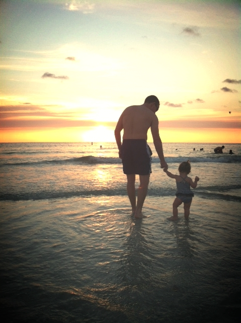 dad and baby at the beach