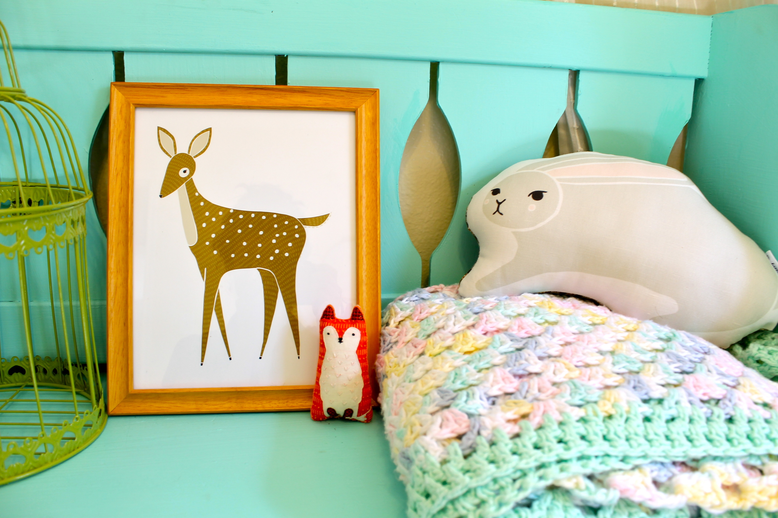 Gingiber deer print and bunny pillow