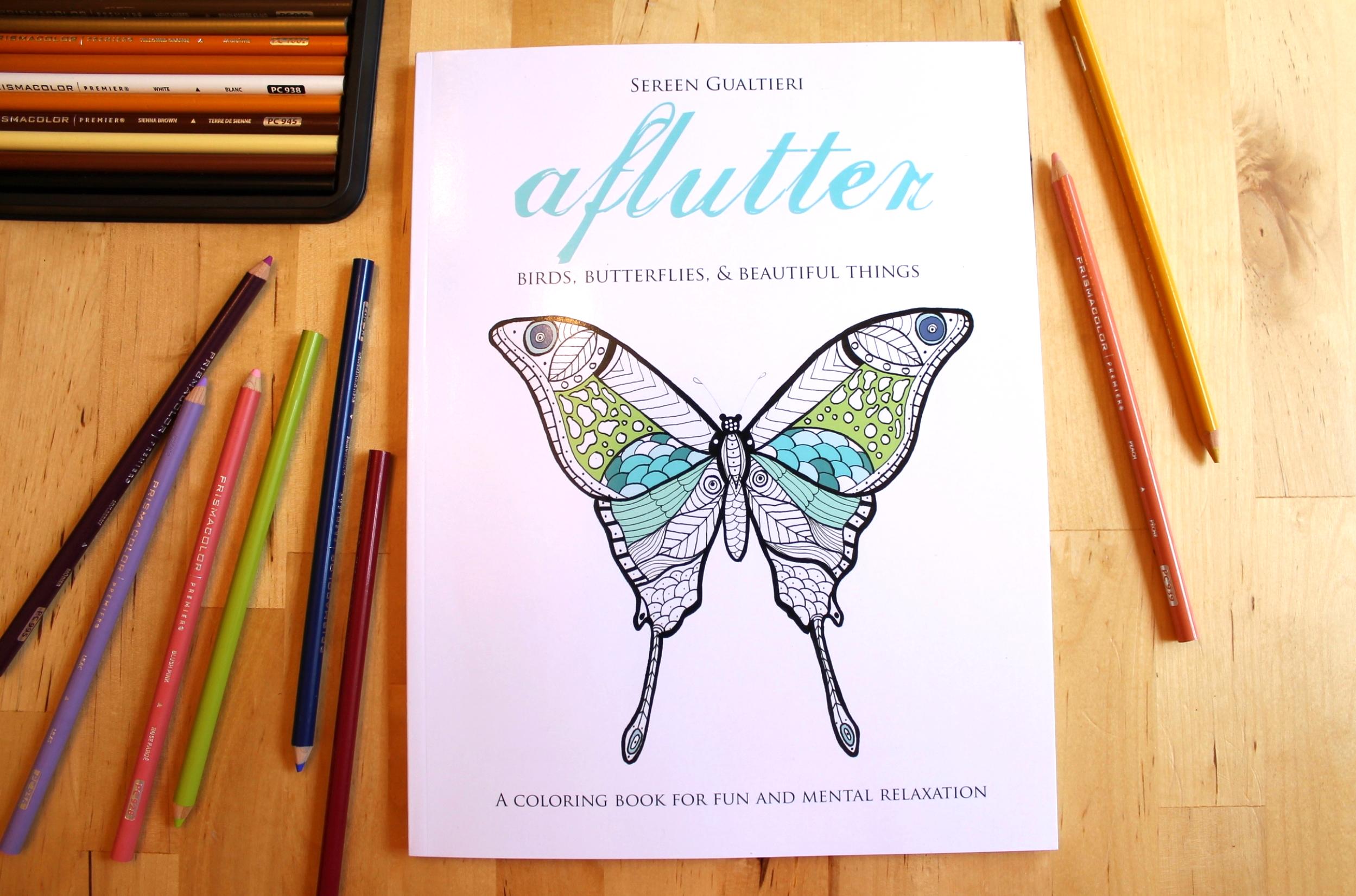 Aflutter adult coloring book