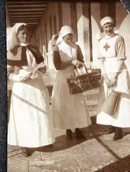 Three nurses at St George's Hospital in Malta 1917. Vera Brittain is on the right.