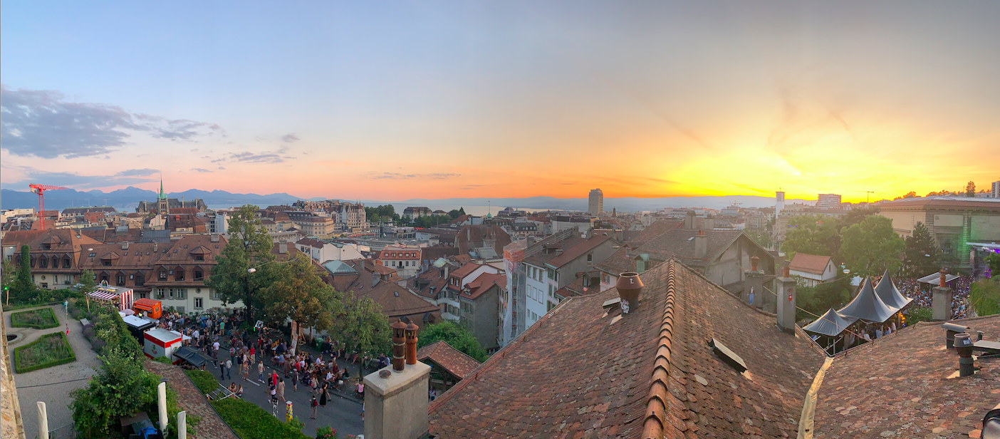 Lausanne from Festival de la cité before sunset