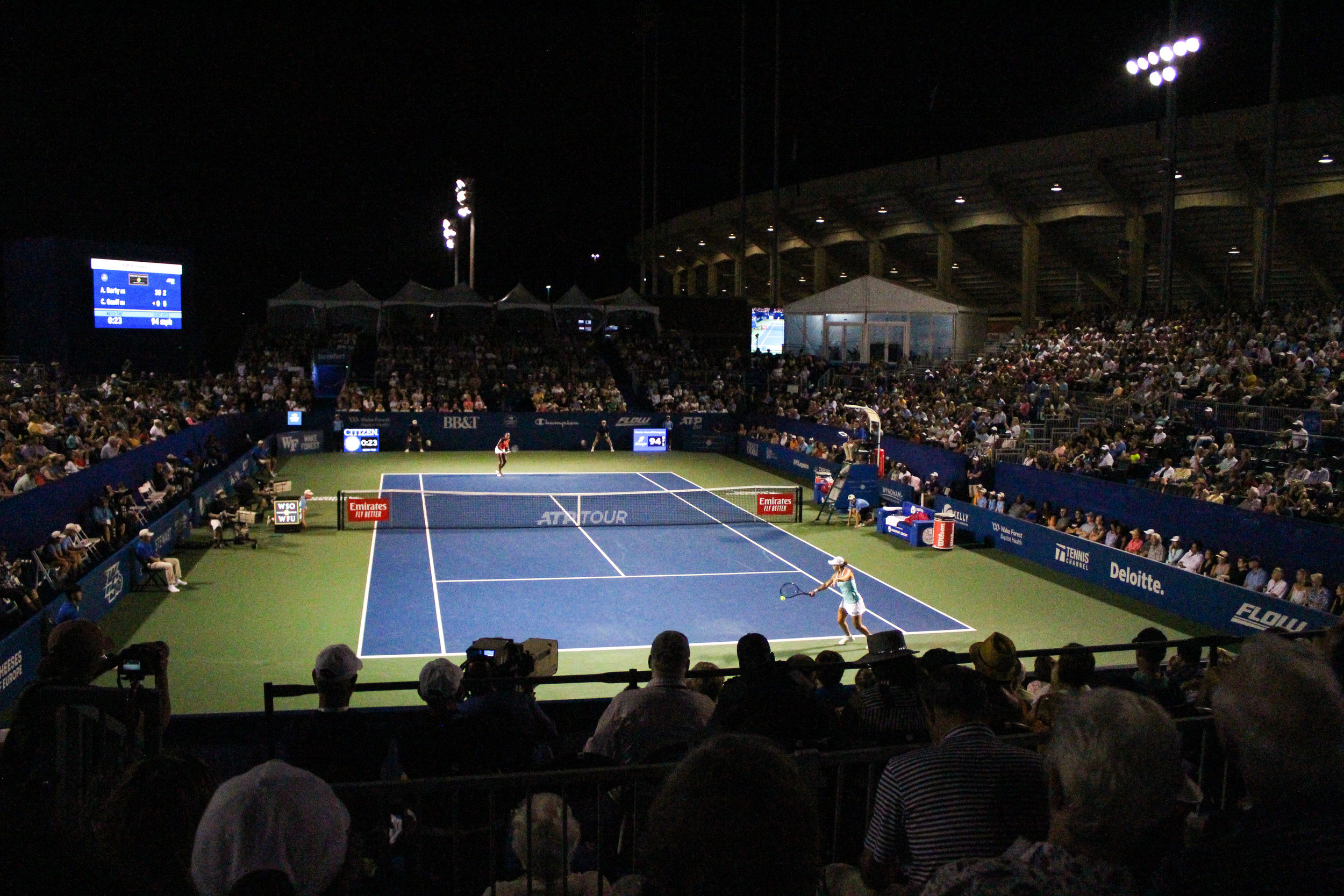 Photo of Ashleigh Barty and Coco Gauff Exhibition at 2019 Winston-Salem Open