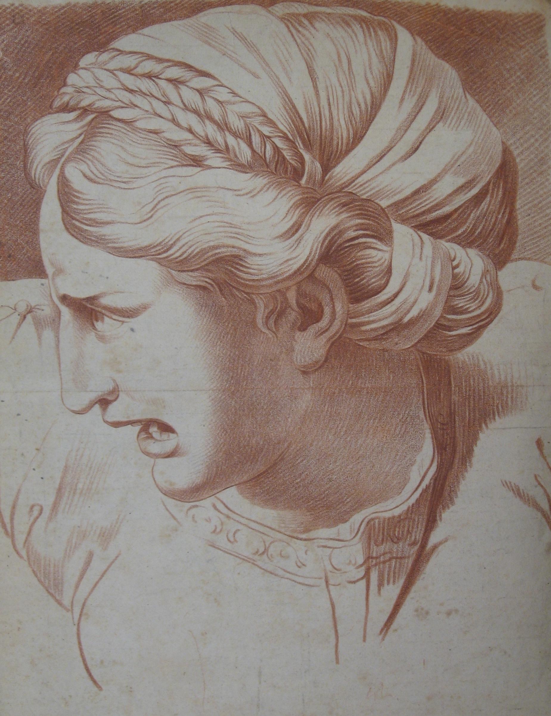 TITLE:Sibyl ou Sabine, L'École de David Year: c. 1730 Medium: Red chalk drawing Image size: 15 ¾ x 20 ½