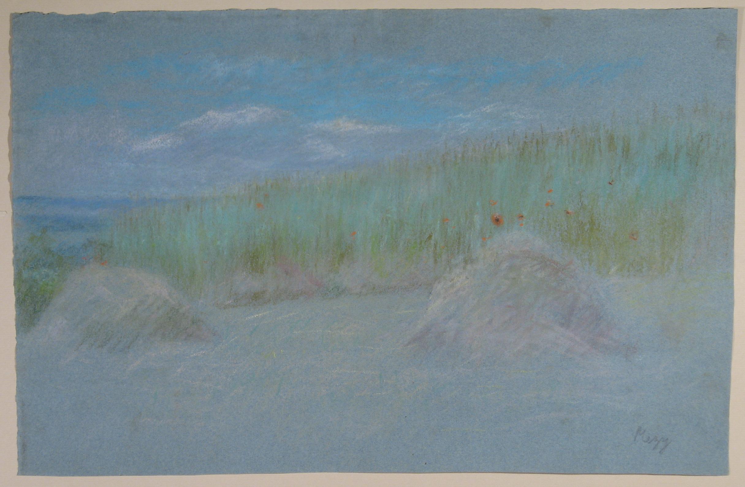 Title: Bottes de foin et coquelicots dans un pre / Haystacks and poppies in a field Year: c. 1914 Medium: Pastel on gray blue paper Image size: 18 x 12