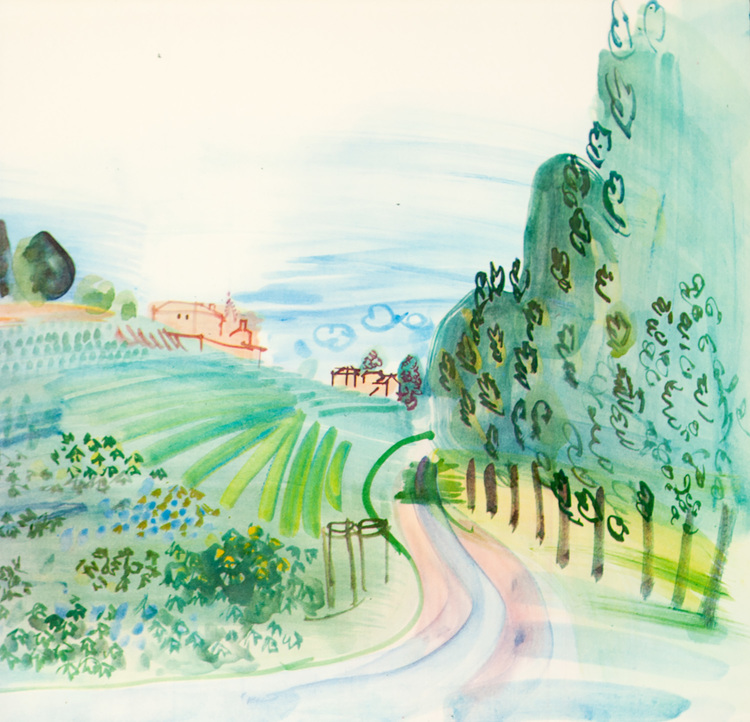 TITLE: Long Life Thanks to Wine YEAR: 1936 MEDIUM: Lithograph IMAGE SIZE: 10 x 10 in