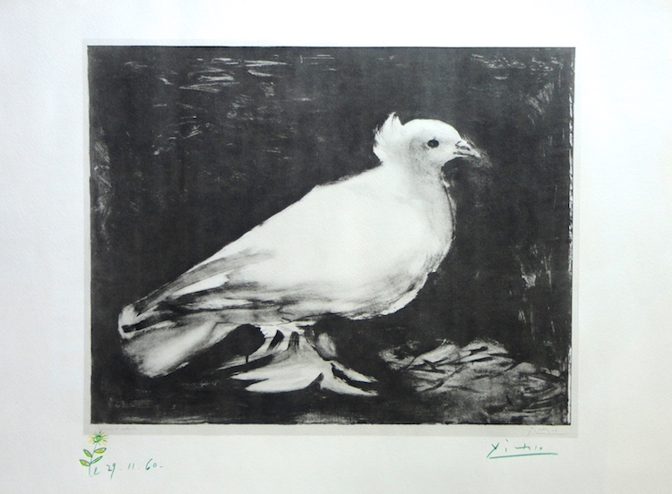 "TITLE: COLOMBE, WITH DRAWING OF FLOWER YEAR: 1960 MEDIUM: LITHOGRAPH AND CONTE CRAYON IMAGE SIZE: 24 5/8"" X 26 3/8"""