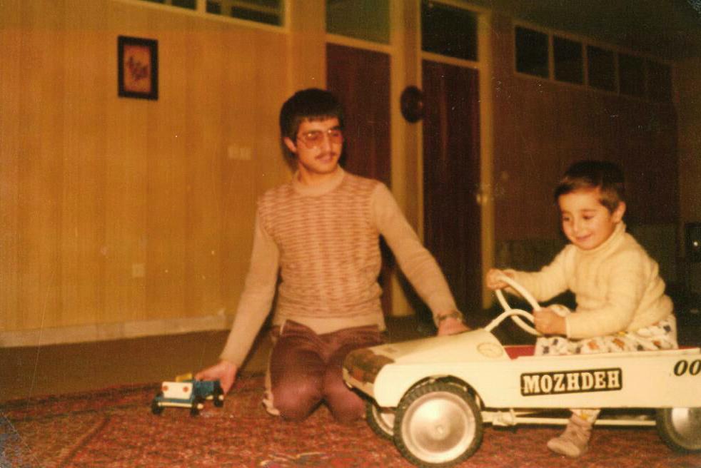 [Enjoying Alireza's birthday gift in his own company. 1982 Tabriz, Iran]