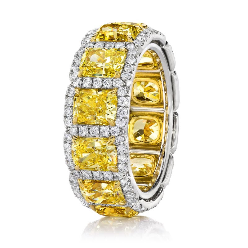 Yellow Diamond Halo Eternity Ring Standing.jpg
