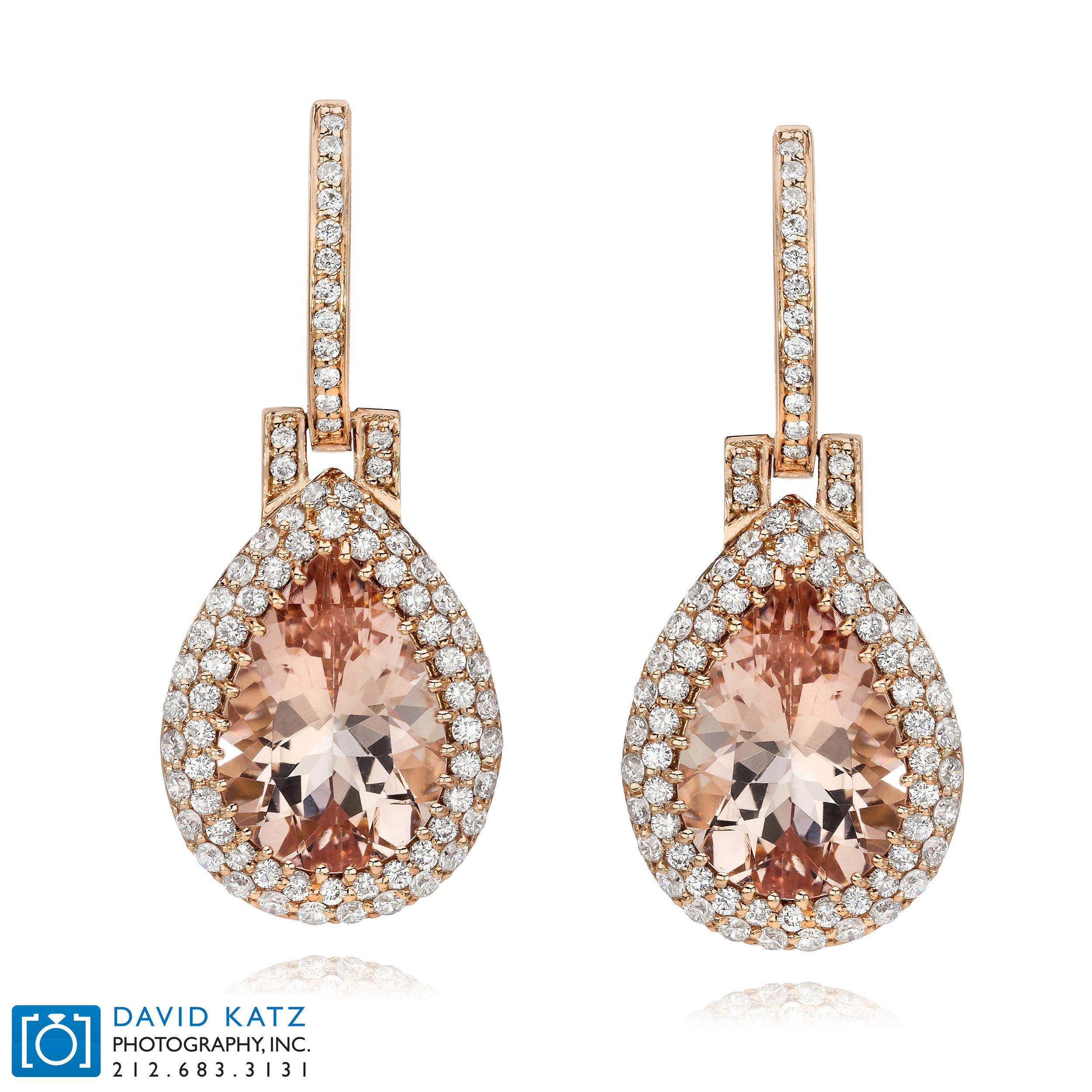Morganite Rose Gold Diamond Halo Earrings Front_NEWLOGO.jpg