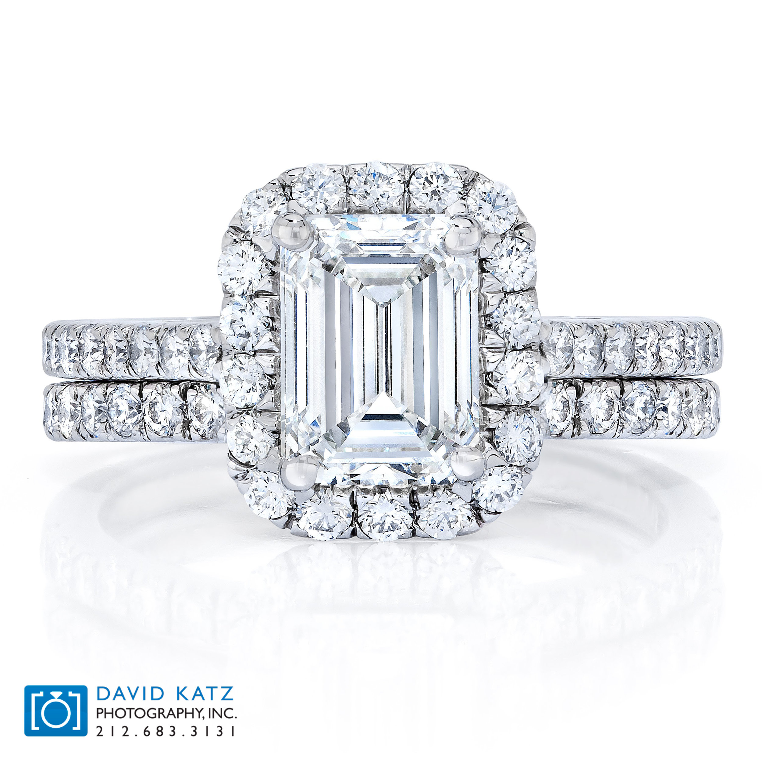 Emerald Cut Diamond Halo Ring Set.jpg