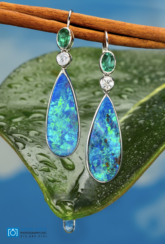 Opal earrings on Leaf with water drop wet-2.jpg