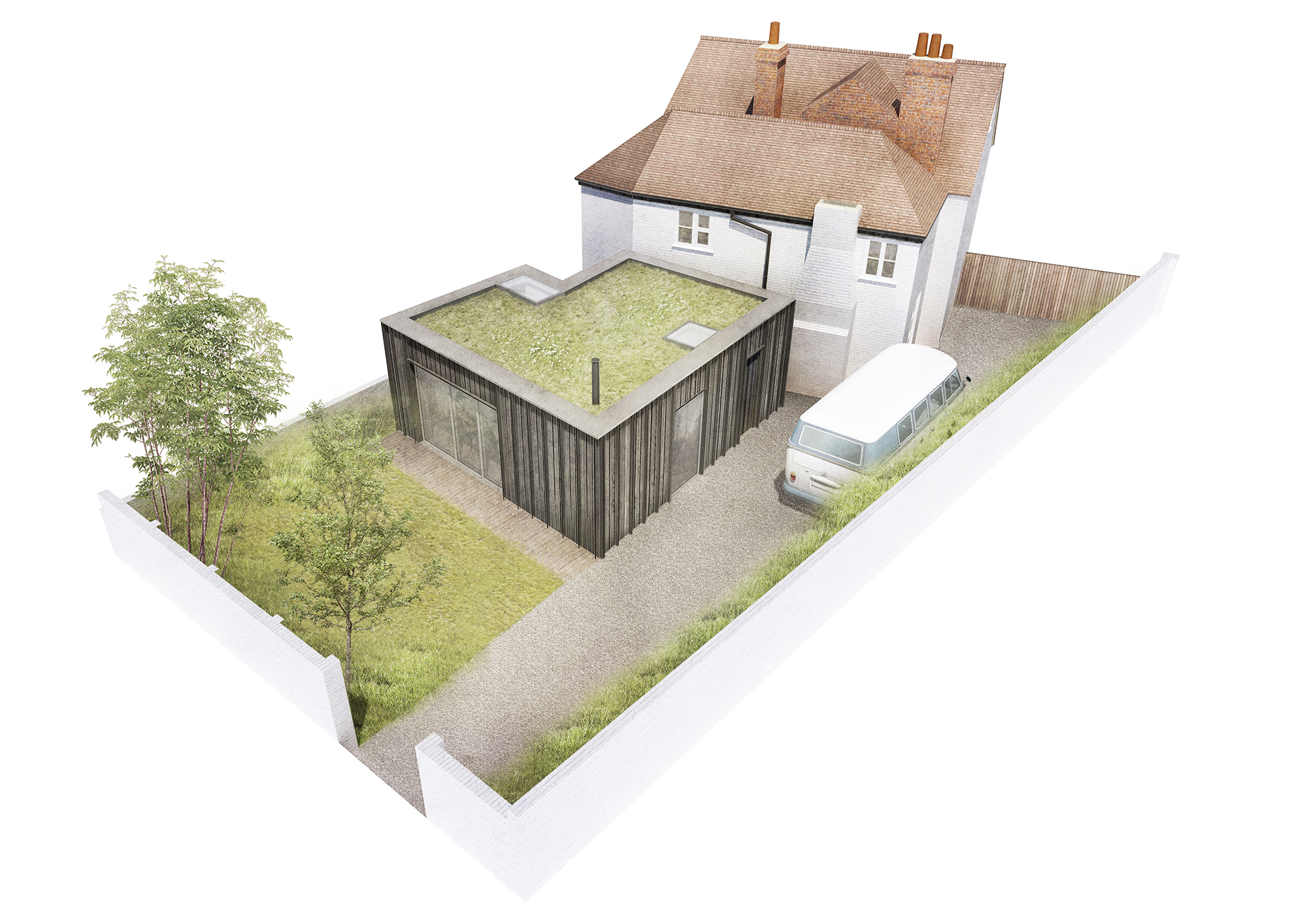 Concept of contemporary architecture extension exterior, Twyford, Hampshire