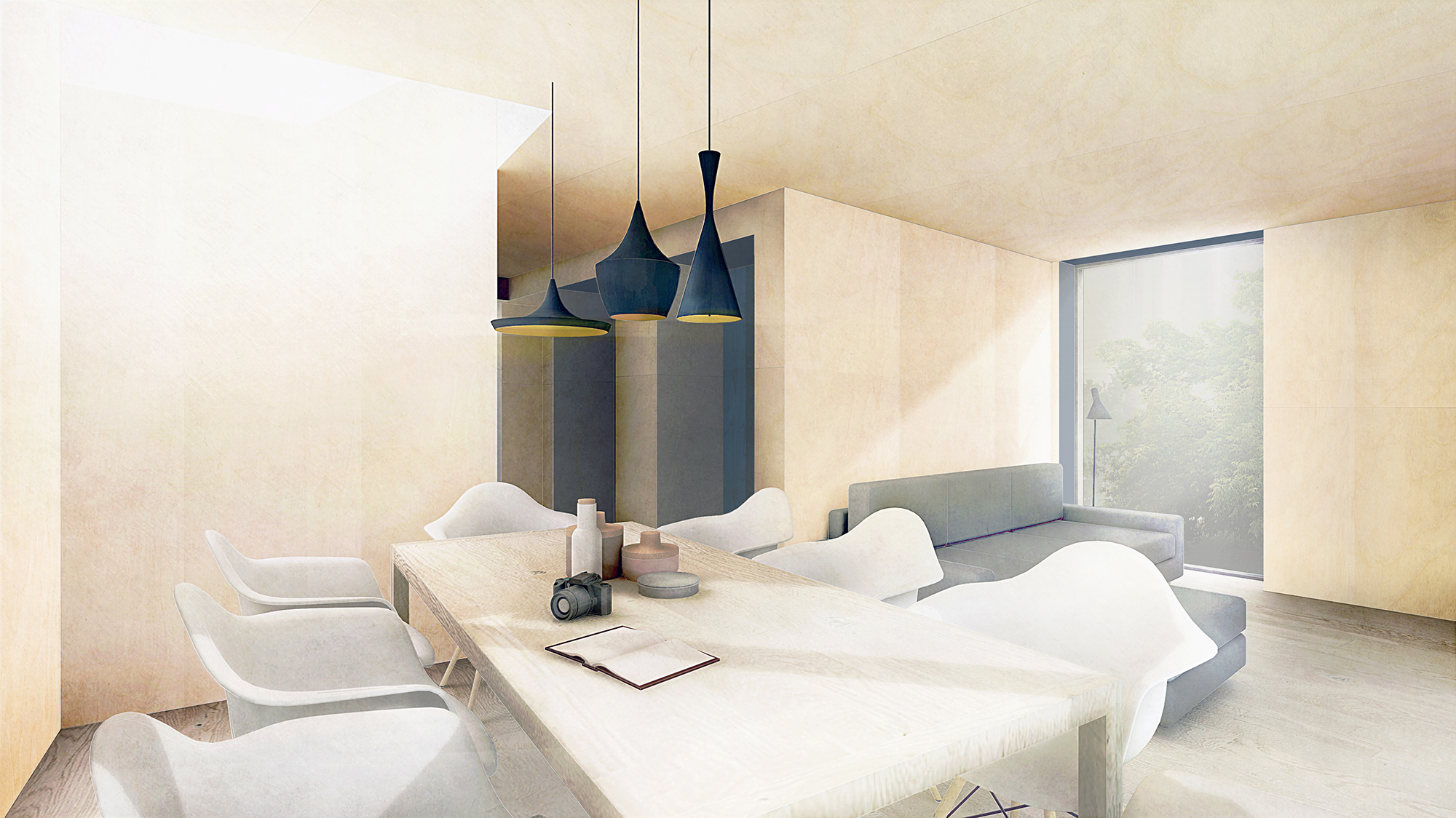 Concept of contemporary architecture extension interior, Twyford, Hampshire