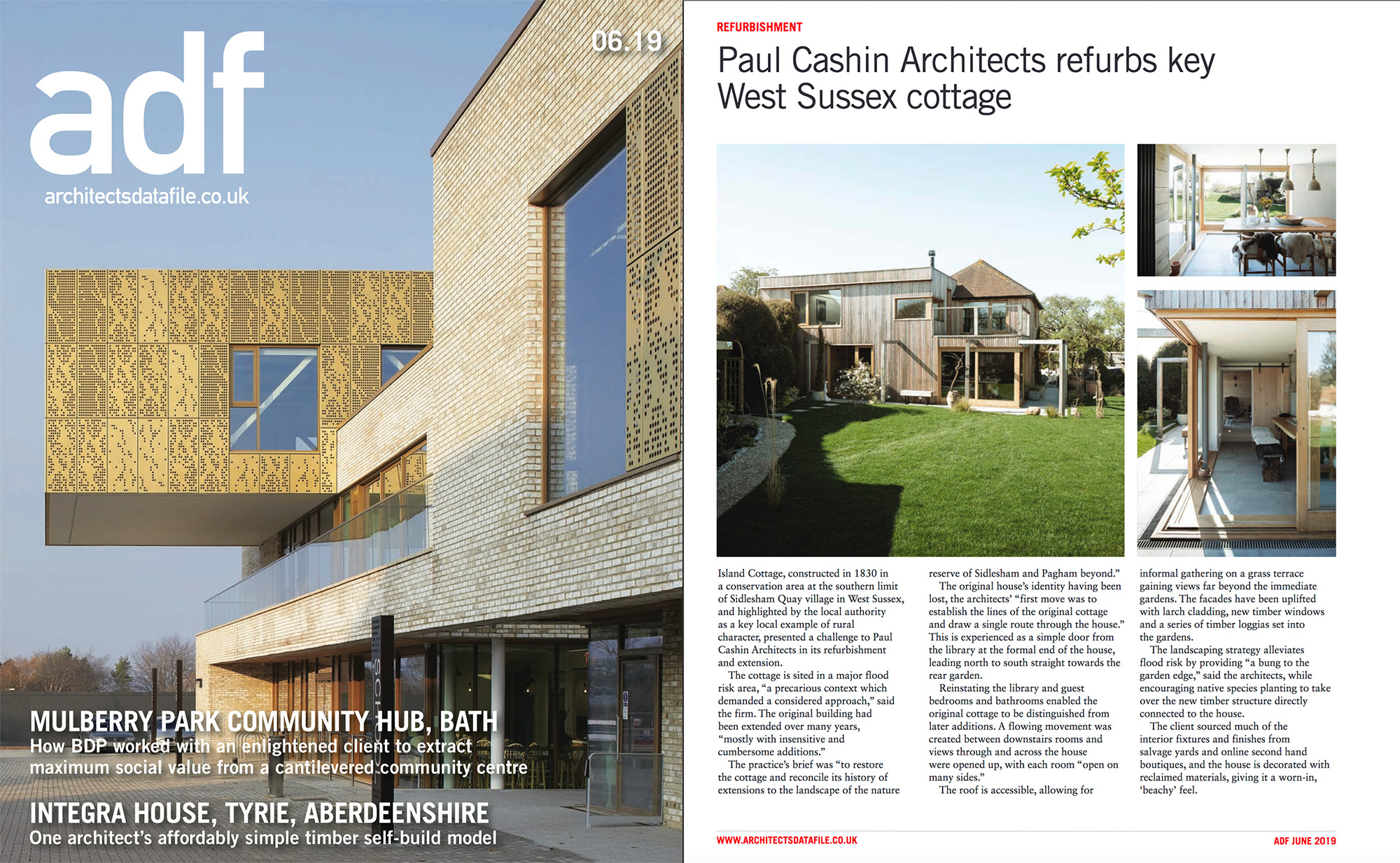 06.19 Island Cottage featured in Architects Data File magazine p.26