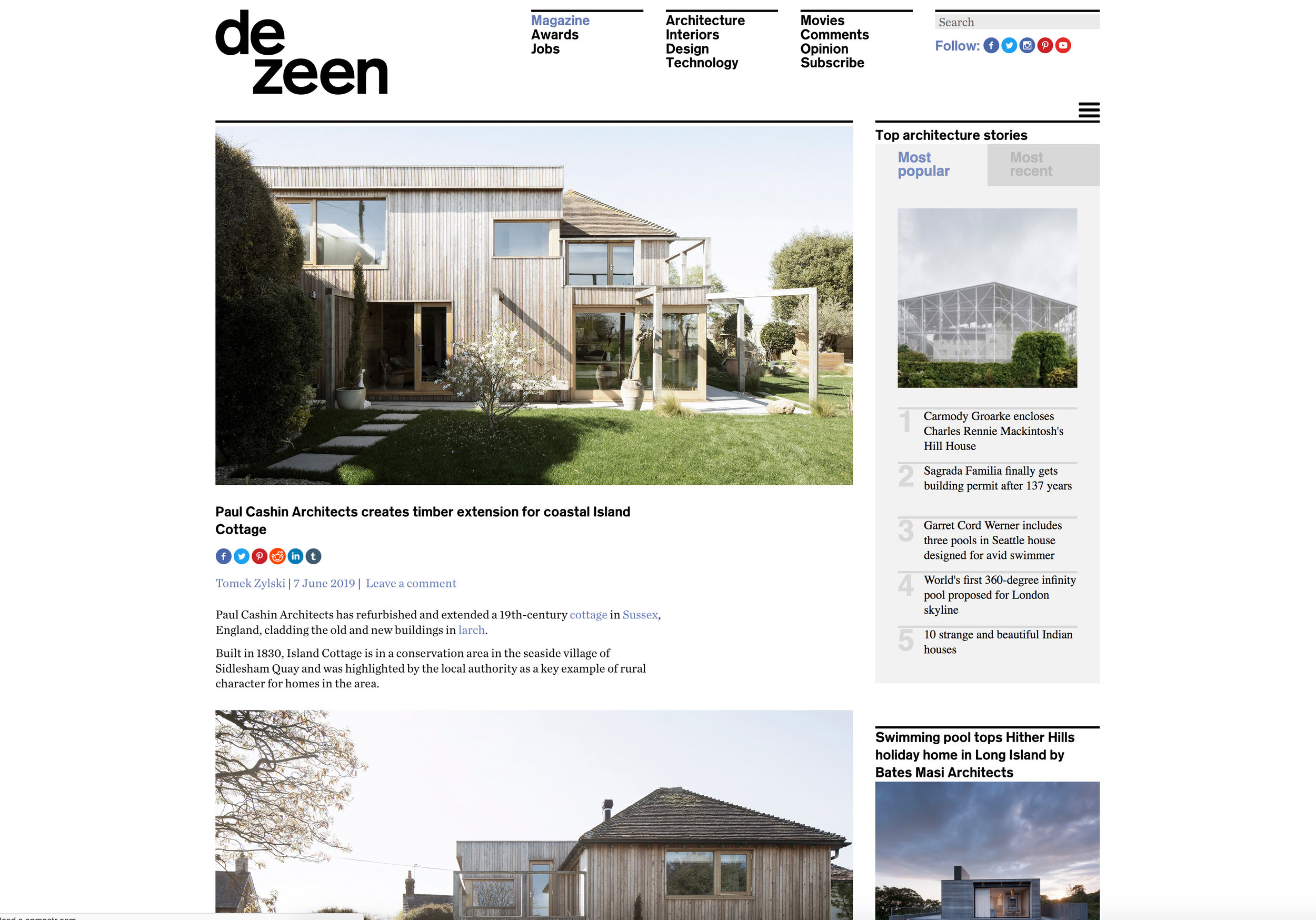 06.19 Island Cottage featured on Dezeen